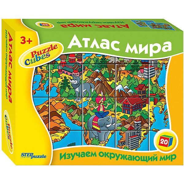 Кубики Атлас мира, 20 шт, Step PuzzleКубики<br>Кубики Атлас мира, 20 шт, от марки Step Puzzle<br><br>Кубики - отличный способ с удовольствием провести время! Такое занятие поможет ребенку развить моторику, активизировать мыслительные процессы, улучшить внимание, логику и тренировать память.<br>Процесс собирания картинок из кубиков способен занять ребенка надолго! Кубики из серии «Изучаем окружающий мир» помогут детям изучать окружающий мир. Продукция данной компании сделана из проверенных материалов, безвредных для детей. Каждая деталь выполнена очень качественно. <br><br>Отличительные особенности пазла:<br><br>- количество элементов: 20;<br>- картинки: Атлас мира;<br>- размер кубика: 40х40х40 мм;<br>- размер упаковки: 200x155x40 мм;<br>- вес: 0,36 кг.<br><br>Кубики Атлас мира, 20 шт, от марки Step Puzzle можно купить в нашем магазине.<br><br>Ширина мм: 515<br>Глубина мм: 355<br>Высота мм: 225<br>Вес г: 432<br>Возраст от месяцев: 36<br>Возраст до месяцев: 84<br>Пол: Унисекс<br>Возраст: Детский<br>SKU: 4661357