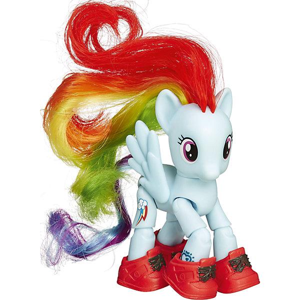 Пони Радуга Дэш, Дружба - это чудо!, My little PonyИгрушки<br>Пони с 8 точками артикуляции и аксессуарами с которыми здорово прогуляться по улочкам Мейнхеттена. Отсканируйте специальный код своим мобильным устройством, и откройте новые функции в игровом мобильном приложении My Little Pony.<br><br>Ширина мм: 47<br>Глубина мм: 178<br>Высота мм: 47<br>Вес г: 150<br>Возраст от месяцев: 36<br>Возраст до месяцев: 120<br>Пол: Женский<br>Возраст: Детский<br>SKU: 4661750