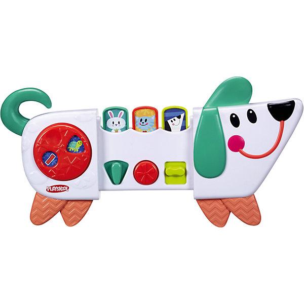 Веселый щенок возьми с собой, PLAYSKOOLРазвивающие центры<br>Веселый щенок возьми с собой, PLAYSKOOL.<br><br>Характеристики:<br><br>- Рекомендуемый возраст: от 9 месяцев<br>- Комплектация: веселый щенок, универсальный ремень, инструкция<br>- Материал: пластик<br>- Размер упаковки: 23х6х33 см.<br><br>Развивающая игрушка Веселый щенок из серии Возьми с собой способствует развитию у малыша мелкой моторики рук, координации движений, цветовому и тактильному восприятию. Игрушка представляет собой игровую панель в виде щенка с веселой мордашкой, озорными глазами и очаровательной улыбкой. На ней расположено вращающееся колесико, кнопочки с изображением зайца, кошки, собаки и рычажки. Поверхности рычажков отличаются друг от друга нанесенным на них узором, поэтому ребенок сможет развивать тактильные ощущения, играя с милым щенком. У игрушки есть три режима игры: переключай, нажимай и раздвигай. Со щенком можно весело играть в прятки. Передняя и задняя часть щенка сдвигаются, закрывая игровую панель и пряча изображения веселых зверят. Благодаря небольшому размеру игрушки, ее можно брать с собой на прогулку или в детский сад. В комплекте есть универсальный ремень, которым игрушку можно прикрепить к коляскам, автокреслам, тележкам для шоппинга. Игрушка выполнена из пластика высокого качества, выглядит очень ярко и красочно.<br><br>Игрушку Веселый щенок возьми с собой, PLAYSKOOL можно купить в нашем интернет-магазине.<br>Ширина мм: 60; Глубина мм: 330; Высота мм: 60; Вес г: 544; Возраст от месяцев: 9; Возраст до месяцев: 36; Пол: Унисекс; Возраст: Детский; SKU: 4661760;