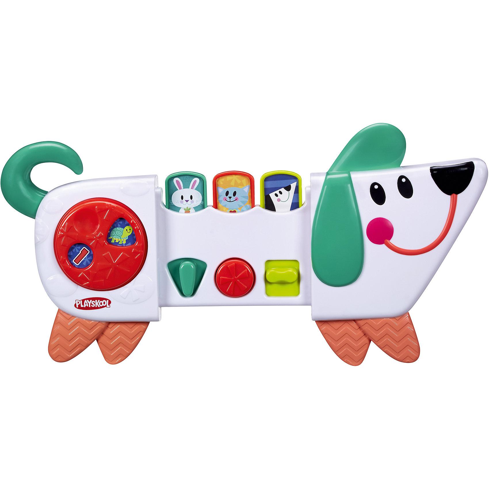 Веселый щенок возьми с собой, PLAYSKOOLУ веселого щенка есть три режима игры: переключай, нажимай и раздвигай. Игра со щенком развивает мелкую моторику, познавательные способности и понимание причинно-следственных связей. Со щенком можно весело играть в прятки. В комплекте есть универсальный ремень, которым игрушку можно прикрепить к коляскам, автокреслам, тележкам для шоппинга. 9М+<br><br>Ширина мм: 60<br>Глубина мм: 330<br>Высота мм: 60<br>Вес г: 544<br>Возраст от месяцев: 9<br>Возраст до месяцев: 36<br>Пол: Унисекс<br>Возраст: Детский<br>SKU: 4661760