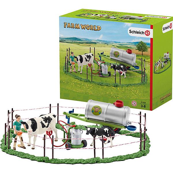 Набор семья коров на пастбищеВне категории - РМА<br>Набор Семья коров на пастбище станет прекрасной игрушкой для юных поклонников и опытных коллекционеров фигурок животных от знаменитого производителя Schleich (Шляйх). <br><br>В набор входит:<br><br>корова,<br>теленок,<br>жена фермера,<br>доильный аппарат с бидоном на тележке,<br>цистерна для воды на прицепе,<br>морковь для кормления животных,<br>8 изгородей для пастбища.<br><br>Сегодня прекрасный солнечный день на ферме. Жена фермера помогает своему мужу в его повседневной работе. Она возит цистерну с водой на пастбище и присматривает за животными. Сегодня она принесла коровам любимое угощение – свежую, сочную морковь. Коровам нравится быть на пастбище, они могут спокойно наслаждаться свежим воздухом, солнышком и свежей травкой целый день. <br><br>В жаркий день коровы очень хотят пить, поэтому жена фермера регулярно наполняет цистерну водой и привозит ее на пастбище, чтобы напоить животных. В конце прекрасного дня на пастбище, хозяйка доит коров доильным аппаратом и заполняет бидоны свежим молоком. <br><br>В цистерну для воды можно налить воду. Доильный аппарат фиксируется у коровы на вымени. Колеса у прицепа для цистерны и у тележки для бидона крутятся, их можно катать. <br><br>Набор продается в подарочной коробке.<br>Ширина мм: 232; Глубина мм: 193; Высота мм: 114; Вес г: 669; Возраст от месяцев: 36; Возраст до месяцев: 96; Пол: Унисекс; Возраст: Детский; SKU: 4662515;