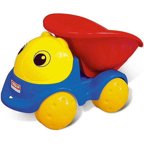 Грузовик Пчелка, СтелларМашинки<br>Грузовик Пчелка, Стеллар<br><br>Характеристики:<br><br>• Материал: пластик<br>• Возраст: от 3 лет<br>• Размер: 25х15х15<br>• Цвет: синий, красный, желтый<br><br>Крупные детали грузовика и его яркие цвета – точно понравятся малышу. С такой машинкой можно играть и дома, и на улице. Спереди машины есть специальная дырочка, за которую можно прицепить веревочку. Колесики хорошо крутятся и делают ход машинки плавным. Милое личико у грузовичка порадует ребенка своим дружелюбием.<br><br>Грузовик Пчелка, Стеллар можно купить в нашем интернет-магазине.<br>Ширина мм: 240; Глубина мм: 130; Высота мм: 130; Вес г: 400; Возраст от месяцев: 36; Возраст до месяцев: 72; Пол: Унисекс; Возраст: Детский; SKU: 4662712;