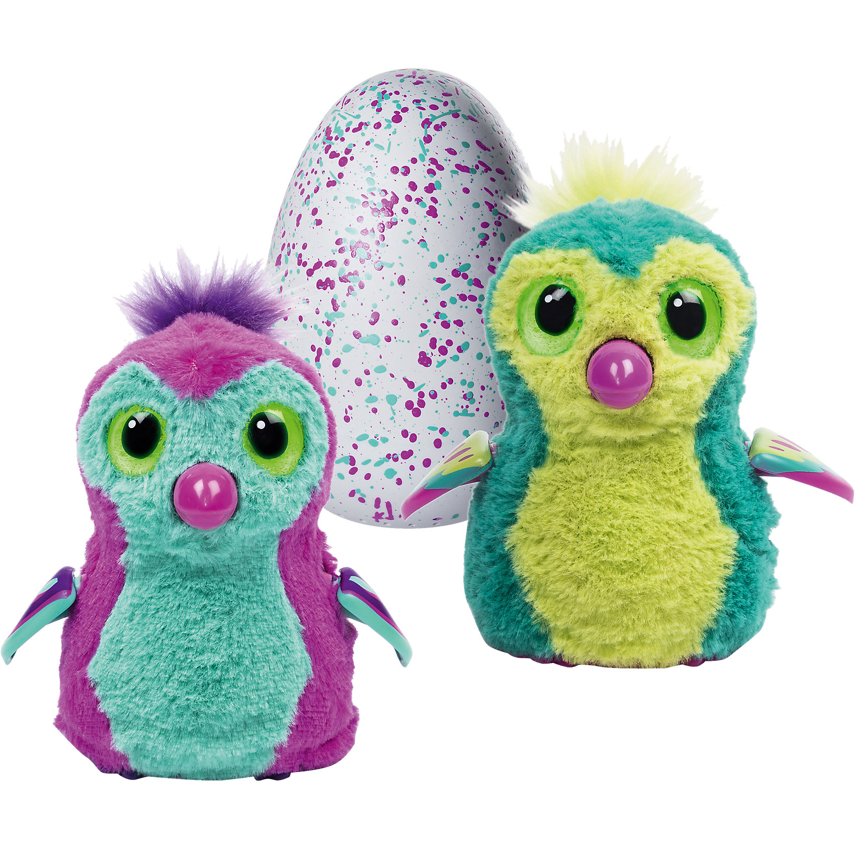Игрушка Hatchimals - пингвинчик - интерактивный питомец, вылупляющийся из яйца, в ассортиментеИнтерактивный питомец, вылупляющийся из яйца. Следует согревать и поглаживать яйцо в руках, питомец начинает шевелиться, слышно его сердцебиение, он пробивает скорлупу клювом и вылупляется. Далее проходит 3 стадии взросления (младенец, ребенок, взрослый). Игры, танцы, смешные звуки и ритм, LED лампочки показывают его настроение. 2 цвета в ассортименте.<br><br>Ширина мм: 257<br>Глубина мм: 205<br>Высота мм: 152<br>Вес г: 849<br>Возраст от месяцев: 60<br>Возраст до месяцев: 120<br>Пол: Женский<br>Возраст: Детский<br>SKU: 4662758