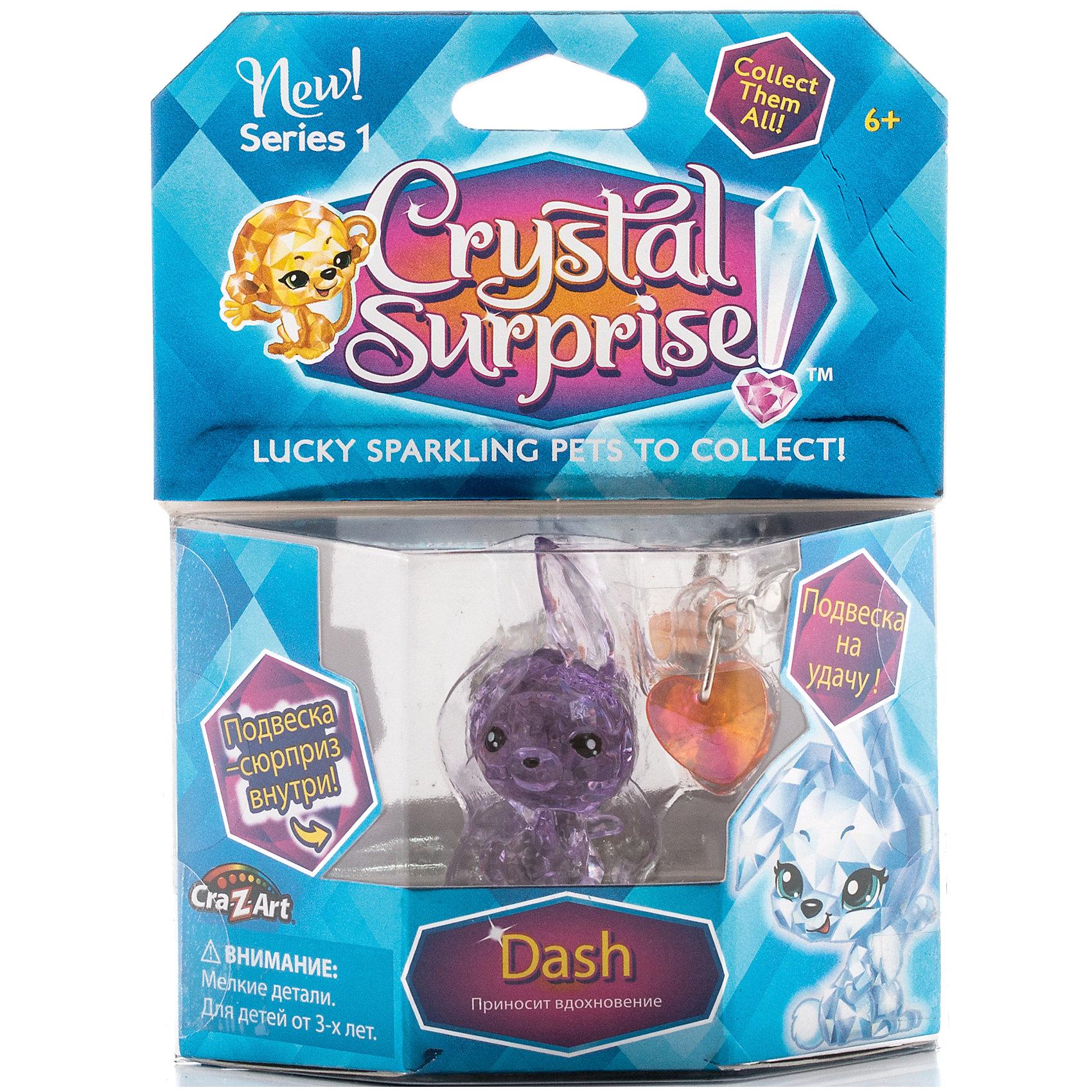 Фигурка Кролик+подвески, Crystal SurpriseКоллекционные фигурки<br>Фигурка Crystal Surprise - одновременно талисман и украшение. Эти волшебные зверьки будто состоят из искрящихся кристаллов! Кристальные фигурки выполнены из высококачественного полупрозрачного пластика. У каждого зверька свой цвет и своя, особенная, история. Кролик Дэш (Dash) - талисман для вдохновения. У него милая мордочка, игриво поднято одно ушко. Фигурка сделана из полупрозрачного материала с красивым розовым оттенком. В комплект, также, входит подвеска в виде сердечка, 2 маленьких металлических шарма, и буклет коллекционера. Украшение можно подвесить на рюкзак, использовать как брелок или украсить свой браслет.<br><br>Ширина мм: 110<br>Глубина мм: 150<br>Высота мм: 30<br>Вес г: 46<br>Возраст от месяцев: 36<br>Возраст до месяцев: 192<br>Пол: Женский<br>Возраст: Детский<br>SKU: 4663701