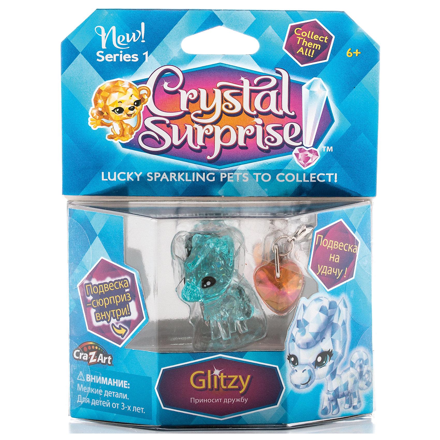 Фигурка Пони+подвески, Crystal Surprise, в ассортиментеФигурка Crystal Surprise - искрящийся на солнце талисман. Эти волшебные зверьки будто сияют магией! Кристальные фигурки выполнены из высококачественного полупрозрачного пластика. У каждого зверька свой цвет и своя, особенная, история. Пони Глитзи (Glitzy) - фигурка талисман, чья задача - сохранение дружбы. Пони очень милая и добрая, ее волшебная сила помогает найти друзей и сделать дружбу крепче! Фигурка сделана из полупрозрачного материала с красивым зеленым оттенком. В комплект, также, входит буклет коллекционера и украшения для девочек - подвеска в виде сердечка и подвеска-сюрприз. Их можно повесить на рюкзак, использовать как брелок или украсить свой браслет.<br><br>Ширина мм: 110<br>Глубина мм: 150<br>Высота мм: 30<br>Вес г: 44<br>Возраст от месяцев: 36<br>Возраст до месяцев: 192<br>Пол: Женский<br>Возраст: Детский<br>SKU: 4663705