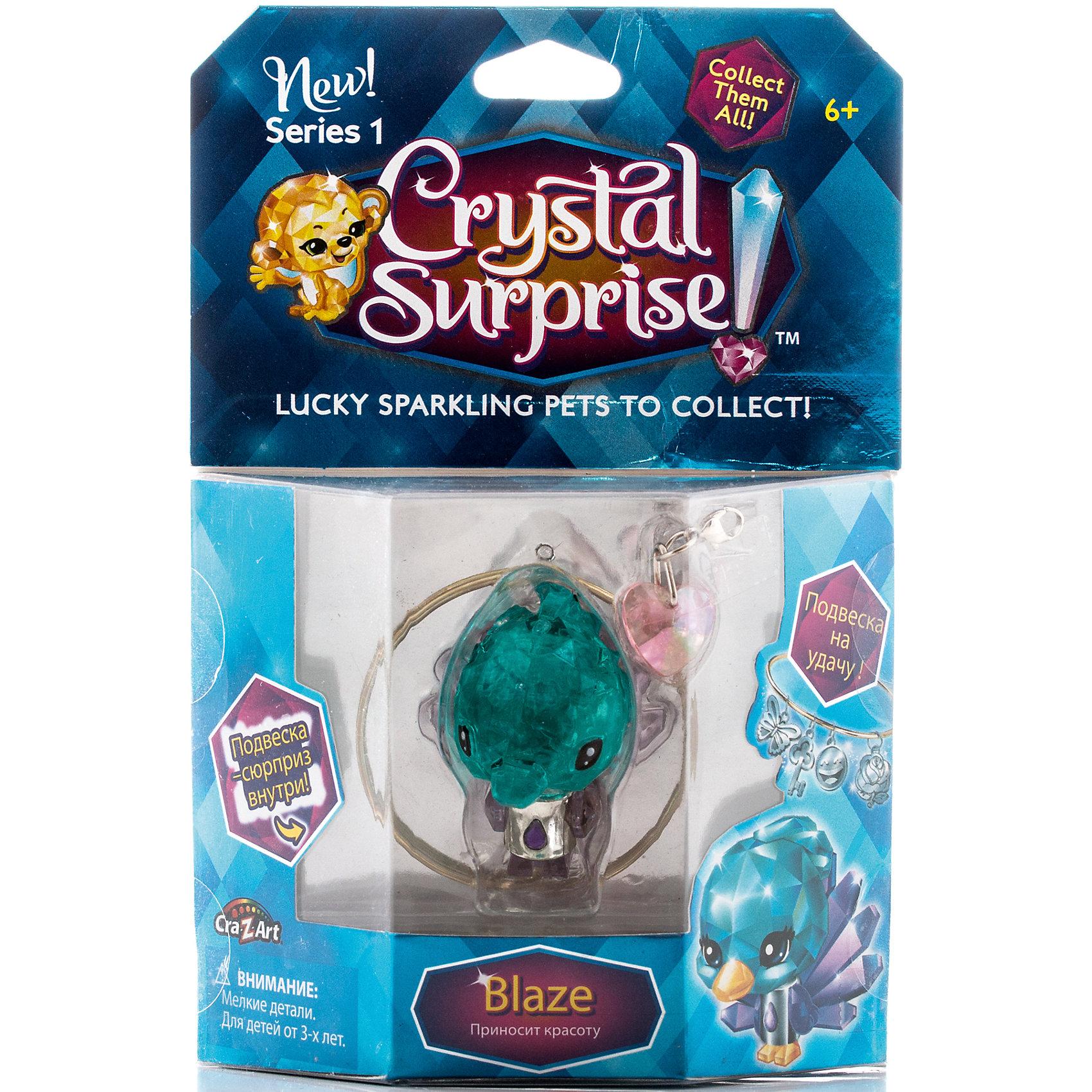 Фигурка Павлин+браслет и подвески, Crystal SurpriseПопулярные игрушки<br>Фигурка Crystal Surprise - искрящийся на солнце талисман. Эти волшебные зверьки будто сияют магией! Кристальные фигурки выполнены из высококачественного прозрачного пластика. У каждого зверька свой цвет и своя, особенная, история. Павлин Блейз (Blaze) - фигурка талисман, символ красоты. Павлин очень красивый, а его волшебная сила помогает сохранять и приумножать красоту вокруг. Кристальная фигурка сделана из прозрачного материала с ультрамариновым оттенком. В комплект, также, входит буклет коллекционера и украшения для девочек - браслет, подвеска в виде сердечка и подвеска-сюрприз. Их можно повесить на рюкзак, использовать как брелок или украсить свой браслет.<br><br>Ширина мм: 130<br>Глубина мм: 195<br>Высота мм: 45<br>Вес г: 87<br>Возраст от месяцев: 36<br>Возраст до месяцев: 192<br>Пол: Женский<br>Возраст: Детский<br>SKU: 4663707
