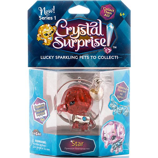 Фигурка Слоник+браслет и подвески, Crystal SurpriseИгровые наборы с фигурками<br>Фигурки Crystal Surprise - искрящийся на солнце талисман. Эти волшебные зверьки будто сияют магией! Кристальные фигурки выполнены из высококачественного прозрачного пластика. У каждого зверька свой цвет и своя, особенная, история. Слоник Стар (Star) - кристальная фигурка и одновременно талисман. Стар - символ благородства. Он честный, добрый и всегда старается поступать правильно. Волшебная сила слоненка - помочь обладателю талисмана стать таким же благородным и храбрым, как и он сам. Фигурка сделана из прозрачного материала с красным оттенком, ярко сияет и переливается на солнышке. Тело слоненка - металлический цилиндр с круглым кристаллом посередине. В комплект, также, входит буклет коллекционера и украшения для девочек - браслет, подвеска в виде сердечка и подвеска-сюрприз. Их можно повесить на рюкзак, использовать как брелок или украсить свой браслет.<br><br>Ширина мм: 130<br>Глубина мм: 195<br>Высота мм: 45<br>Вес г: 87<br>Возраст от месяцев: 36<br>Возраст до месяцев: 192<br>Пол: Женский<br>Возраст: Детский<br>SKU: 4663712