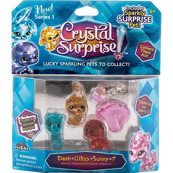Игровой набор 1 - 4 фигурки, Crystal SurpriseИгровые наборы с фигурками<br>Набор фигурок талисманов Crystal Surprise. В каждой упаковке - 4 кристальные фигурки, одна из которых скрыта и станет сюрпризом. Также, в комплект входит 2 стильные подвески для девочек, которыми можно украсить свой браслет или использовать в качестве брелка.<br><br>В ассортименте несколько наборов с разными фигурками.<br><br>Каждая фигурка Crystal Surprise - искрящийся на солнце талисман. Эти волшебные зверьки будто сияют магией! Кристальные фигурки выполнены из высококачественного прозрачного пластика. У каждого зверька свой цвет и своя, особенная, история.<br><br>Ширина мм: 170<br>Глубина мм: 190<br>Высота мм: 30<br>Вес г: 105<br>Возраст от месяцев: 36<br>Возраст до месяцев: 192<br>Пол: Женский<br>Возраст: Детский<br>SKU: 4663713