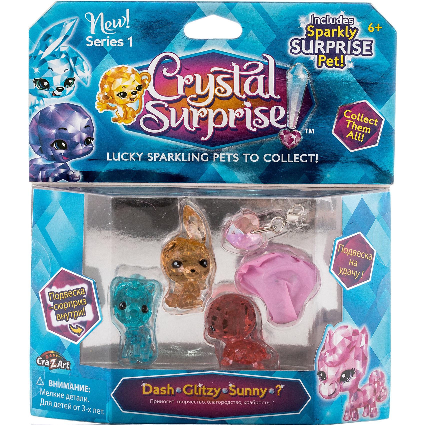 Игровой набор 1 - 4 фигурки, Crystal SurpriseПопулярные игрушки<br>Набор фигурок талисманов Crystal Surprise. В каждой упаковке - 4 кристальные фигурки, одна из которых скрыта и станет сюрпризом. Также, в комплект входит 2 стильные подвески для девочек, которыми можно украсить свой браслет или использовать в качестве брелка.<br><br>В ассортименте несколько наборов с разными фигурками.<br><br>Каждая фигурка Crystal Surprise - искрящийся на солнце талисман. Эти волшебные зверьки будто сияют магией! Кристальные фигурки выполнены из высококачественного прозрачного пластика. У каждого зверька свой цвет и своя, особенная, история.<br><br>Ширина мм: 170<br>Глубина мм: 190<br>Высота мм: 30<br>Вес г: 105<br>Возраст от месяцев: 36<br>Возраст до месяцев: 192<br>Пол: Женский<br>Возраст: Детский<br>SKU: 4663713