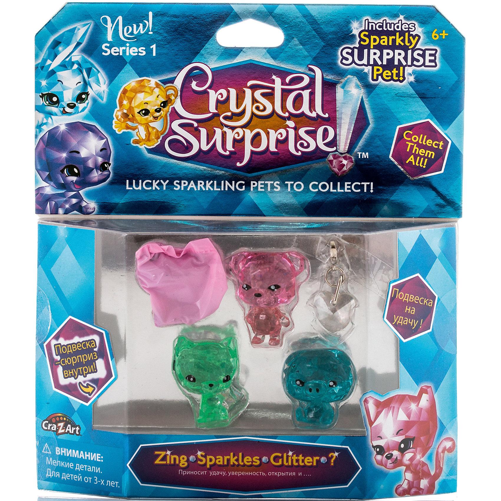 Игровой набор 2 - 4 фигурки , Crystal SurpriseПопулярные игрушки<br>Игровой набор Crystal Surprise включает 4 кристальные фигурки животных-талисманов. Одна из них станет сюрпризом! В наборе 3 открытые фигурки - поросенок Зинг, который приносит удачу, Медвежонок Спаркл, который поможет обрести уверенность в себе и Глиттер, чья задача - помочь сделать новые интересные открытия.<br><br>Все фигурки сделаны из прозрачного материала, окрашенного в разные цвета. Они искрятся на солнце, как настоящие кристаллы! Каждая фигурка - талисман. У персонажей разные волшебные силы, внешний вид, характер и история.<br><br>Фигурки могут отличатся от фигурок аналогичных персонажей из других наборов Crystal Surprise - вы можете собрать фигурки одного зверька, разных цветов!<br><br>Ширина мм: 170<br>Глубина мм: 190<br>Высота мм: 30<br>Вес г: 107<br>Возраст от месяцев: 36<br>Возраст до месяцев: 192<br>Пол: Женский<br>Возраст: Детский<br>SKU: 4663714
