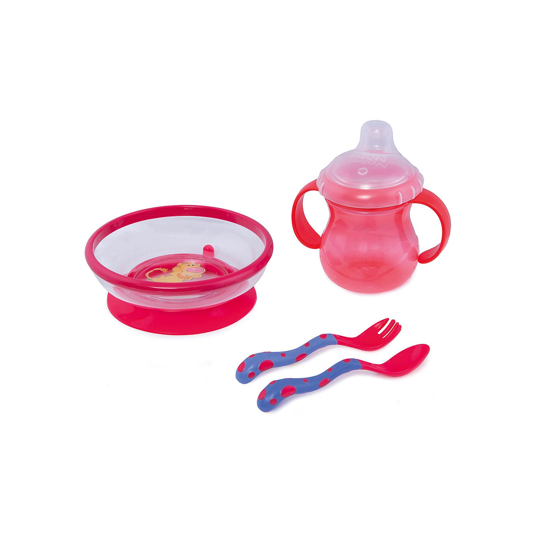 Набор посуды, Nuby, красныйНабор посуды, Nuby (Нуби), в ассортименте состоит из тарелки из поликарбоната на присоске, тренировочной ложки и вилки, а также поильника из полипропилена с ручками и носиком-непроливайкой.<br>Тарелка изготовлена из ударопрочного поликарбоната. Ее можно безопасно мыть в посудомоечной машине, и нагревать в ней продукты при помощи микроволновой печи. У тарелки имеется нескользящая основа, надежно удерживающая тарелку на поверхности.<br>Удобные ложка и вилка с мягкими ручками легко помещаются в руке ребенка, а поильник с удобными ручками и мягким носиком предотвратит протекание при обчении малыша пить самостоятельно.<br><br>Дополнительная информация:<br><br>- материал: поликарбонат, полипропилен, резина, силикон, пластик<br><br><br>Набор посуды, Nuby (Нуби), в ассортименте можно купить в нашем магазине.<br><br>Ширина мм: 330<br>Глубина мм: 220<br>Высота мм: 80<br>Вес г: 450<br>Цвет: красный<br>Возраст от месяцев: 6<br>Возраст до месяцев: 36<br>Пол: Унисекс<br>Возраст: Детский<br>SKU: 4663775