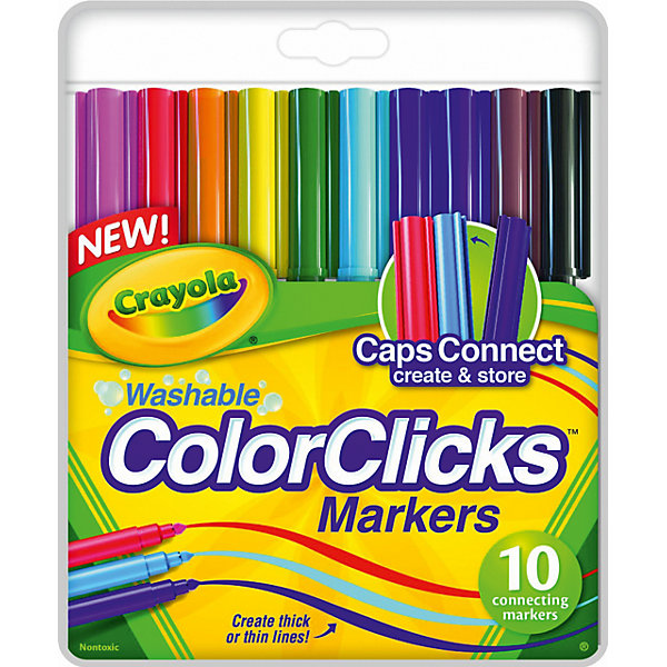 10 соединяющихся фломастеровФломастеры<br>Разноцветные фломастеры Crayola помогут в создании собственного волшебного мира на бумаге и смогут воплотить детские творческие фантазии. Их удобно держать в руке, они хорошо ложатся на бумажную поверхность и рисуют тонкими линиями, позволяя сделать изображение реалистичным и аккуратным. <br><br>В наборе 10 роскошных цветов и оттенков: все цвета радуги, а также черный, темно-коричневый и розовый фломастеры. Особенность этого набора для юного художника состоит в том, что колпачки фломастеров могут соединяться друг с другом, образуя надежный крепеж. Таким образом, если малыш возьмет фломастеры с собой на прогулку, в школу или в гости, он не потеряет ни один из пишущих предметов. И сможет создавать рисунки в любом месте!<br><br>Материалы, из которого сделаны фломастеры, качественны и безопасны для детей.<br><br>10 соединяющихся фломастеров можно купить в нашем магазине.<br><br>Ширина мм: 215<br>Глубина мм: 150<br>Высота мм: 80<br>Вес г: 108<br>Возраст от месяцев: 72<br>Возраст до месяцев: 168<br>Пол: Унисекс<br>Возраст: Детский<br>SKU: 4666934
