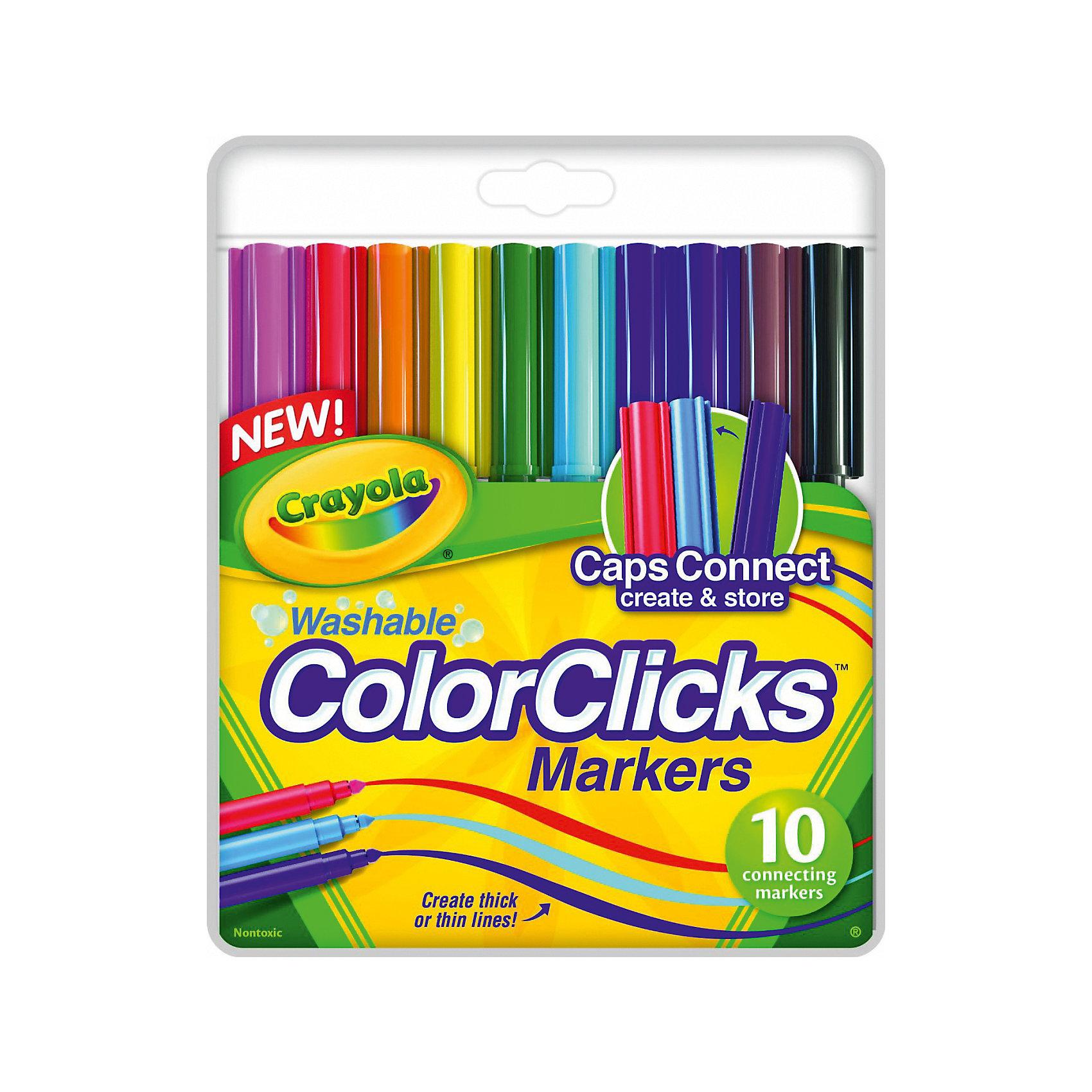 10 соединяющихся фломастеровРазноцветные фломастеры Crayola помогут в создании собственного волшебного мира на бумаге и смогут воплотить детские творческие фантазии. Их удобно держать в руке, они хорошо ложатся на бумажную поверхность и рисуют тонкими линиями, позволяя сделать изображение реалистичным и аккуратным. <br><br>В наборе 10 роскошных цветов и оттенков: все цвета радуги, а также черный, темно-коричневый и розовый фломастеры. Особенность этого набора для юного художника состоит в том, что колпачки фломастеров могут соединяться друг с другом, образуя надежный крепеж. Таким образом, если малыш возьмет фломастеры с собой на прогулку, в школу или в гости, он не потеряет ни один из пишущих предметов. И сможет создавать рисунки в любом месте!<br><br>Материалы, из которого сделаны фломастеры, качественны и безопасны для детей.<br><br>10 соединяющихся фломастеров можно купить в нашем магазине.<br><br>Ширина мм: 215<br>Глубина мм: 150<br>Высота мм: 80<br>Вес г: 108<br>Возраст от месяцев: 72<br>Возраст до месяцев: 168<br>Пол: Унисекс<br>Возраст: Детский<br>SKU: 4666934