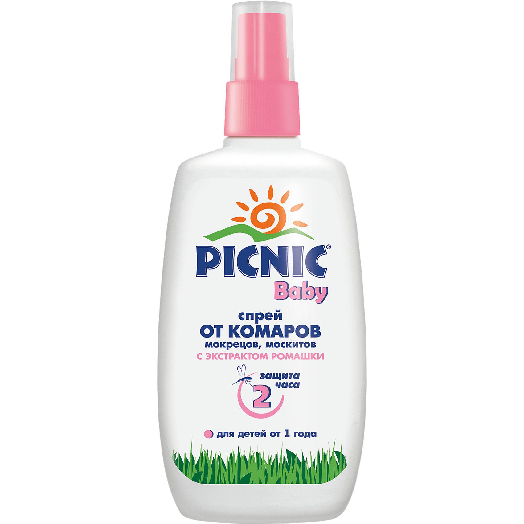 Picnic Спрей от комаров, 120 мл., Picnic Baby средства от насекомых picnic hypoallergenic крем гель с пантенолом 30 мл