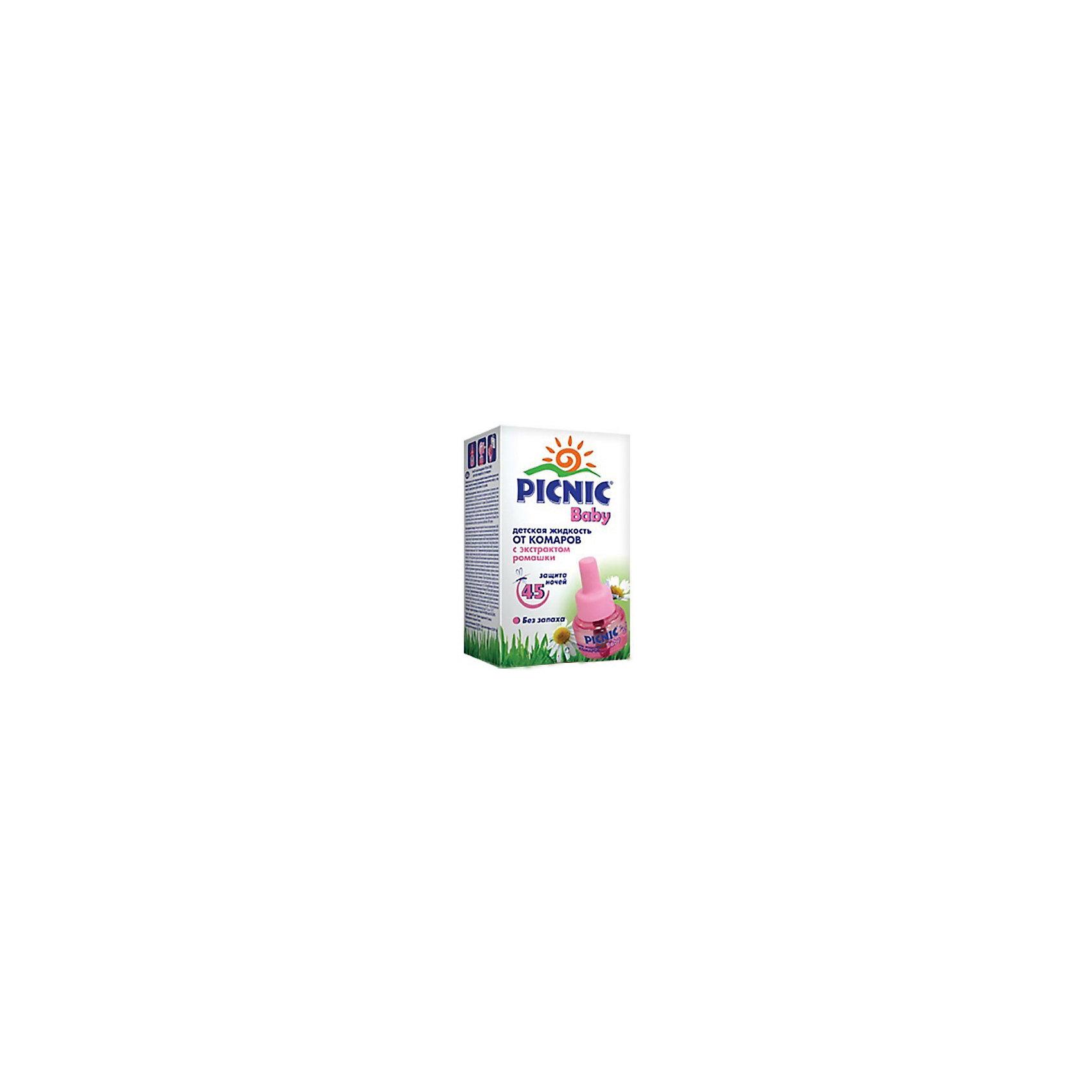 Жидкость от комаров 45 ночей, Picnic BabyСредства защиты от солнца и насекомых<br>Незаменимое средство для защиты малышей от комаров в помещений. Жидкость Picnic Baby обеспечивает эффективную и безопасную защиту от комаров в помещении на протяжении 45 ночей. Не имеет запаха. В состав действующего вещества жидкости – натуральный экстракт далматской ромашки, известный своей эффективностью против насекомых. Для уничтожения комаров и других летающих кровососущих насекомых (москитов, мошек).<br><br>Жидкость от комаров 45 ночей, Picnic Baby можно купить в нашем магазине.<br><br>Ширина мм: 48<br>Глубина мм: 48<br>Высота мм: 86<br>Вес г: 60<br>Возраст от месяцев: 0<br>Возраст до месяцев: 1188<br>Пол: Унисекс<br>Возраст: Детский<br>SKU: 4667901