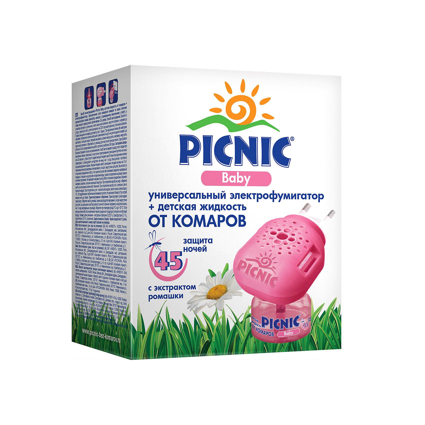 Фумигатор+жидкость от комаров 45 ночей, Picnic BabyСредства защиты от солнца и насекомых<br>Незаменимое средство для защиты малышей от комаров в помещений. В состав действующего вещества жидкости – натуральный экстаркт далматской ромашки, известный своей эффективностью против насекомых. Жидкость Picnic Baby обеспечивает эффективную и безопасную защиту от комаров в помещении на протяжении 45 ночей. Не имеет запаха. Универсальный прибор подходит как для жидкости, так и для пластин, имеет световой индикатор и поворотную вилку.<br><br>Фумигатор+жидкость от комаров 45 ночей, Picnic Baby можно купить в нашем магазине.<br><br>Ширина мм: 93<br>Глубина мм: 64<br>Высота мм: 115<br>Вес г: 150<br>Возраст от месяцев: 0<br>Возраст до месяцев: 1188<br>Пол: Унисекс<br>Возраст: Детский<br>SKU: 4667902
