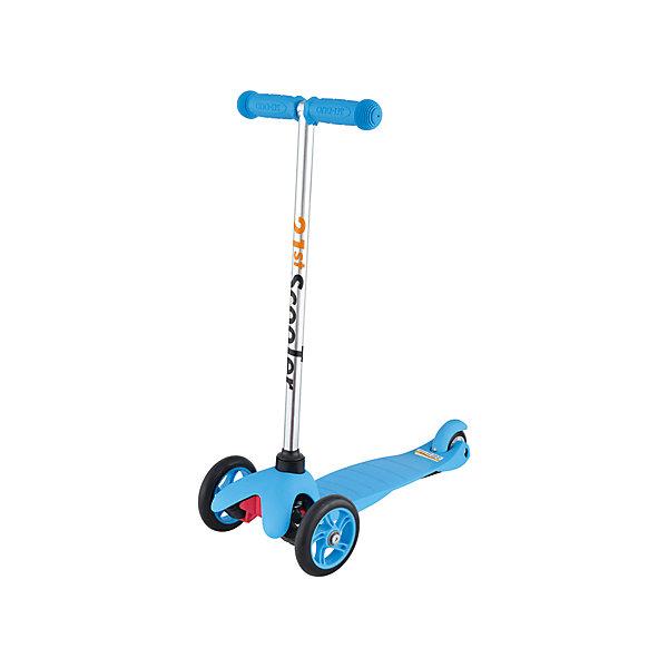 Самокат трехколесный Maxi Scooter, голубой, 21st scooTerСамокаты<br>21st scooter MaxiScooter (SKL-06A) - детский трехколесный самокат с амортизацией передней вилки. Самокат имеет уникальную запатентованную систему управления. Гибкая подножка сделана из мягкого пластика усиленного стекловолокном, что исключает риск травмирования ребенка об нее.За счет своей устойчивости и плавности хода, SKL-06A очень просто освоить. Самокат изготовлен из высококачественных материалов. Он отлично способствует развитию опорно-двигательного аппарата ребенка его координацию движения и навыки балансировки.<br><br>Дополнительная информация:<br><br>Вес: 2,6 кг.<br>Максимальная нагрузка: до 40 кг.<br>Материал: алюминий, полипропилен, стеклопластик<br>Колеса: полиуретановые литые колеса PU<br>Диаметр колес: передние 120 мм, заднее 80 мм.<br>Подшипники: ABEC-1<br>Тормоз: задний тормоз наступающий (step-on brake)<br>Размеры: 67х23х53,5 см.<br>Размер платформы: 52х11 см. <br>Размер коробки  30*39*15<br><br>Самокат трехколесный Maxi Scooter, голубой, 21st scooTer можно купить в нашем магазине.<br>Ширина мм: 610; Глубина мм: 450; Высота мм: 390; Вес г: 2600; Возраст от месяцев: 36; Возраст до месяцев: 96; Пол: Унисекс; Возраст: Детский; SKU: 4669789;