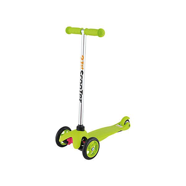 Самокат трехколесный Maxi Scooter, зеленый, 21st scooTerСамокаты<br>21st scooter MaxiScooter (SKL-06A) - детский трехколесный самокат с амортизацией передней вилки. Самокат имеет уникальную запатентованную систему управления. Гибкая подножка сделана из мягкого пластика усиленного стекловолокном, что исключает риск травмирования ребенка об нее.За счет своей устойчивости и плавности хода, SKL-06A очень просто освоить. Самокат изготовлен из высококачественных материалов. Он отлично способствует развитию опорно-двигательного аппарата ребенка его координацию движения и навыки балансировки.<br><br>Дополнительная информация:<br><br>Вес: 2,6 кг.<br>Максимальная нагрузка: до 40 кг.<br>Материал: алюминий, полипропилен, стеклопластик<br>Колеса: полиуретановые литые колеса PU<br>Диаметр колес: передние 120 мм, заднее 80 мм.<br>Подшипники: ABEC-1<br>Тормоз: задний тормоз наступающий (step-on brake)<br>Размеры: 67х23х53,5 см.<br>Размер платформы: 52х11 см. <br>Размер коробки  30*39*15<br><br>Самокат трехколесный Maxi Scooter, зеленый, 21st scooTer можно купить в нашем магазине.<br>Ширина мм: 610; Глубина мм: 450; Высота мм: 390; Вес г: 2600; Возраст от месяцев: 36; Возраст до месяцев: 96; Пол: Унисекс; Возраст: Детский; SKU: 4669790;