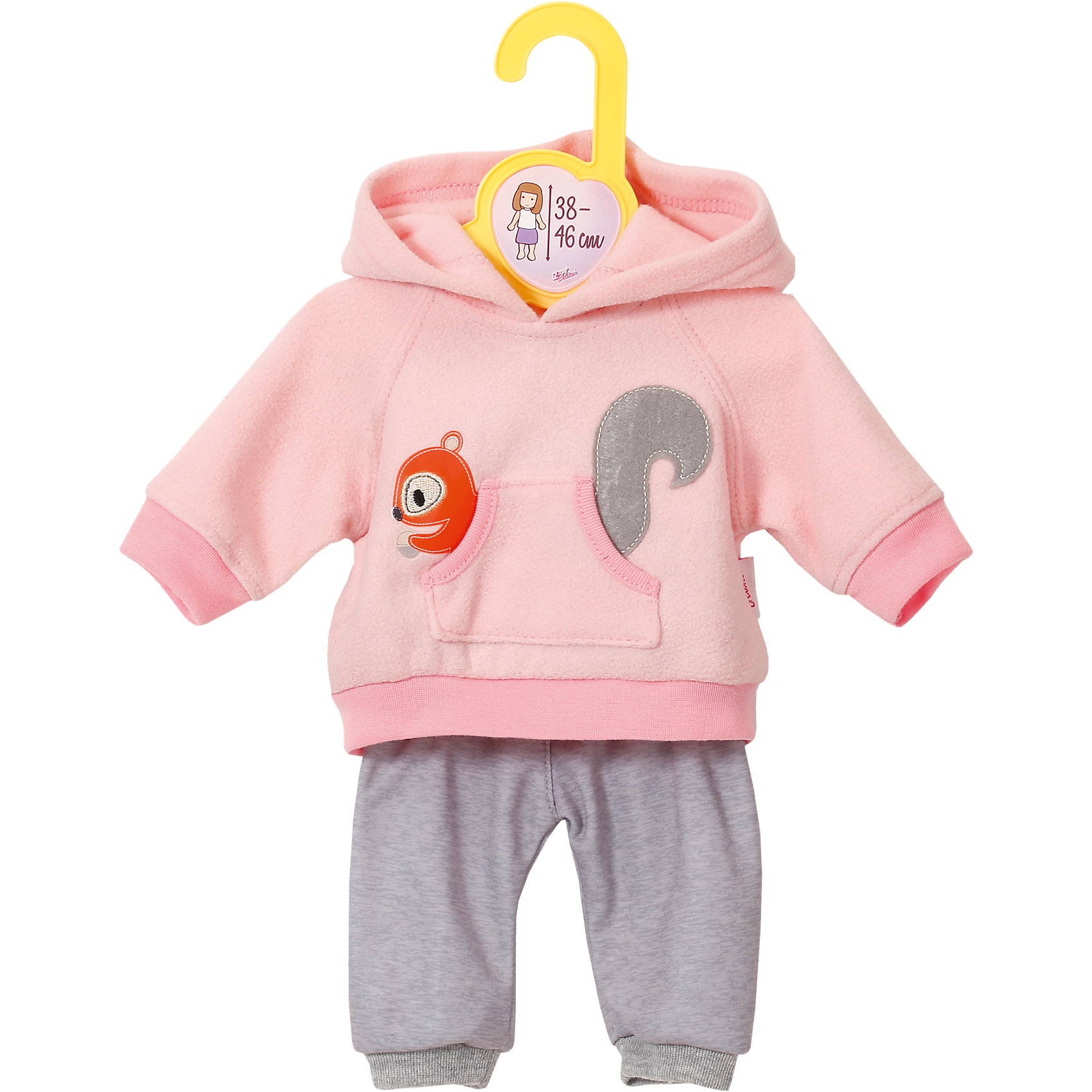 Одежда для кукол высотой 38-46 см, розовая, BABY bornОдежда для кукол высотой 38-46 см, розовая, BABY born – милый костюмчик для маленькой кукольной девочки.<br>Дизайнерский костюм для куклы Бэби Борн высотой 38-46 см нежного розового цвета. Светло-серые штанишки на резинке не слетают с куклы даже при активной игре. Сверху уютная теплая толстовка с большим карманом-кенгуру и капюшоном. Из кармана выглядывает белочка. Наряд можно стирать, не боясь, что он потеряет цвет или качество.<br><br>Дополнительная информация:<br><br>- размер: 354х218х50<br>- вес: 96 г<br>- возраст: 36 месяцев<br><br>Одежду для кукол высотой 38-46 см, розовая, BABY born можно купить в нашем интернет магазине.<br><br>Ширина мм: 404<br>Глубина мм: 253<br>Высота мм: 43<br>Вес г: 113<br>Возраст от месяцев: 36<br>Возраст до месяцев: 60<br>Пол: Женский<br>Возраст: Детский<br>SKU: 4672396