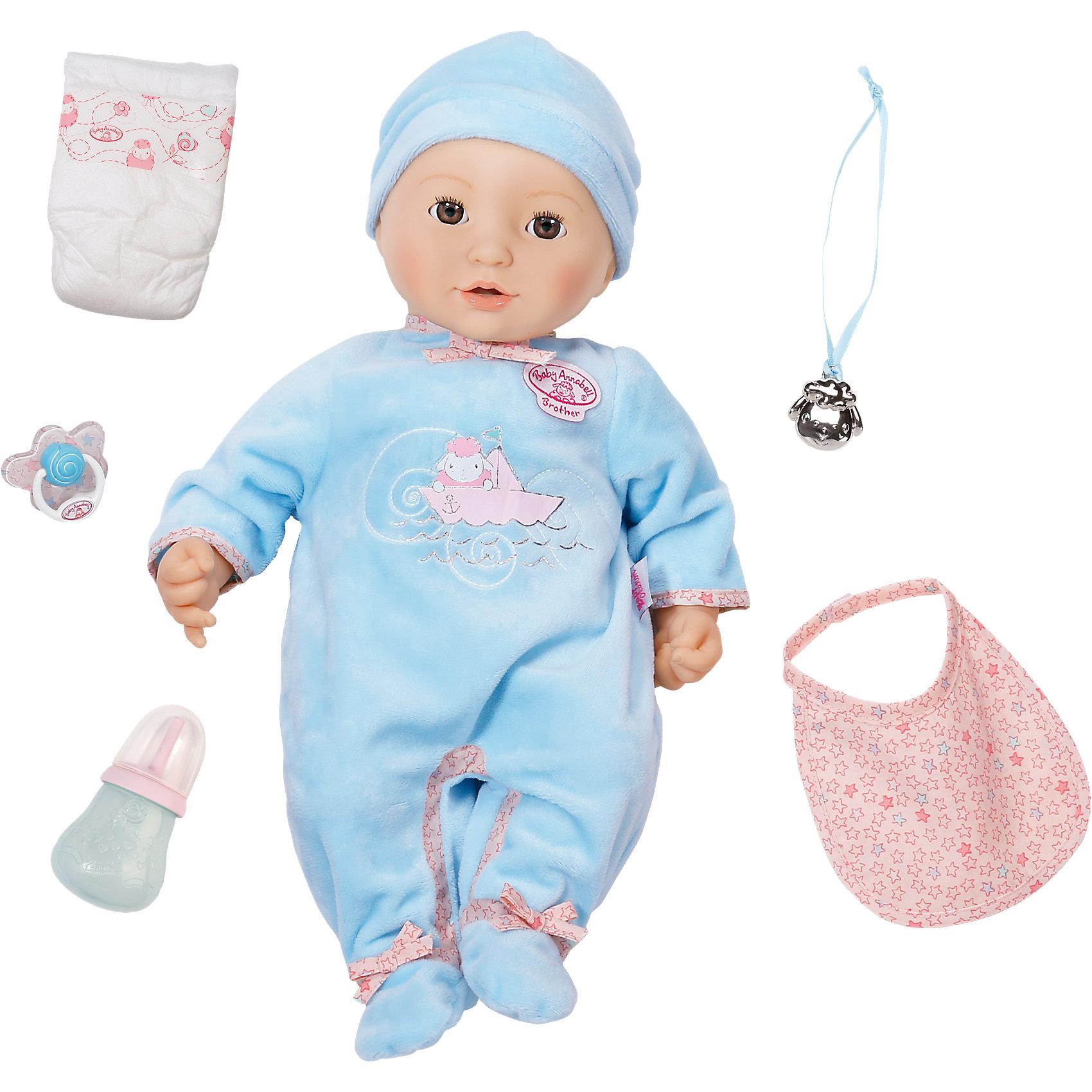 Многофункциональная кукла-мальчик , 46 см, Baby AnnabellБренды кукол<br>Характеристики товара:<br><br>- цвет: разноцветный;<br>- материал: пластик, текстиль;<br>- особенности: пьет и сосет соску, двигая ртом, писает, плачет настоящими слезами, срыгивает и лепечет, засыпает;<br>- размер упаковки: 30х19х40 см;<br>- размер куклы: 46 см.<br><br>Такие красивые куклы не оставят ребенка равнодушным! Какая девочка откажется поиграть с куклой, которая выглядит и ведет себя почти как настоящий ребенок?! Игрушка отлично детализирована, очень качественно выполнена, поэтому она станет отличным подарком ребенку. Она столько всего умеет! Кукла дополнена аксессуарами.<br>Изделие произведено из высококачественного материала, безопасного для детей.<br><br>Многофункциональную куклу-мальчика, 46 см, Baby Annabell можно купить в нашем интернет-магазине.<br><br>Ширина мм: 392<br>Глубина мм: 307<br>Высота мм: 213<br>Вес г: 1457<br>Возраст от месяцев: 36<br>Возраст до месяцев: 60<br>Пол: Женский<br>Возраст: Детский<br>SKU: 4674534