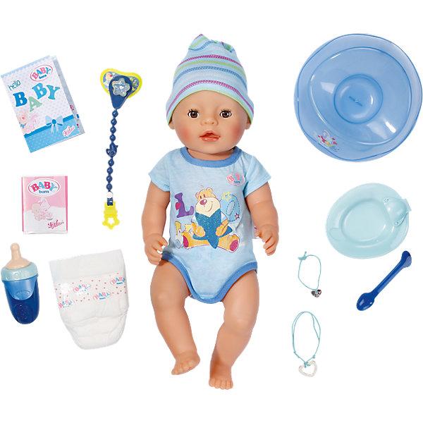 Интерактивная кукла-мальчик, 43 см, BABY bornКуклы<br>Характеристики товара:<br><br>- цвет: разноцветный;<br>- материал: пластик, текстиль;<br>- особенности: открывает и закрывает глаза,плачет слезами,умеет пить из бутылочки,может кушать специальное питание, ходит на горшок или в подгузник, у нее подвижные ручки, ножки и шея, с куклой можно купаться;<br>- размер упаковки: 38х9х10 см;<br>- размер куклы: 43 см.<br><br>Такие красивые куклы не оставят ребенка равнодушным! Какая девочка откажется поиграть с куклой, которая так выглядит?! Игрушка отлично детализирована, очень качественно выполнена, поэтому она станет отличным подарком ребенку. Она столько всего умеет! Кукла дополнена аксессуарами.<br>Изделие произведено из высококачественного материала, безопасного для детей.<br><br>Интерактивную кукла-мальчика, 43 см, BABY born можно купить в нашем интернет-магазине.<br>Ширина мм: 382; Глубина мм: 332; Высота мм: 180; Вес г: 1394; Возраст от месяцев: 36; Возраст до месяцев: 60; Пол: Женский; Возраст: Детский; SKU: 4674535;