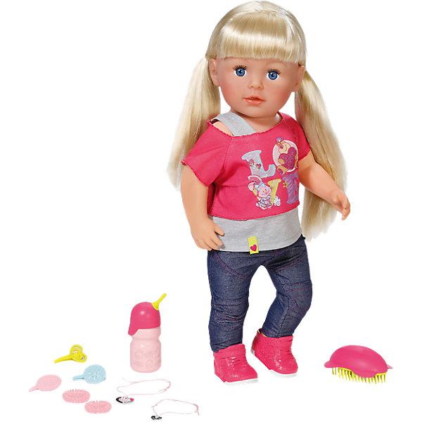 Кукла Сестричка, 43 см, BABY bornКуклы<br>Характеристики товара:<br><br>- цвет: разноцветный;<br>- материал: пластик, текстиль;<br>- особенности: сгибаются в коленях ноги, устойчива в вертикальном положении, умеет пить из бутылочки, плакать настоящими слезами, можно купать;<br>- размер упаковки: 38х9х10 см;<br>- размер куклы: 43 см.<br><br>Такие красивые куклы не оставят ребенка равнодушным! Какая девочка откажется поиграть с куклой, которая так выглядит?! Игрушка отлично детализирована, очень качественно выполнена, поэтому она станет отличным подарком ребенку. Она столько всего умеет! Кукла дополнена аксессуарами.<br>Изделие произведено из высококачественного материала, безопасного для детей.<br><br>Куклу Сестричка, 43 см, BABY born можно купить в нашем интернет-магазине.<br>Ширина мм: 383; Глубина мм: 358; Высота мм: 203; Вес г: 1562; Возраст от месяцев: 36; Возраст до месяцев: 60; Пол: Женский; Возраст: Детский; SKU: 4674538;