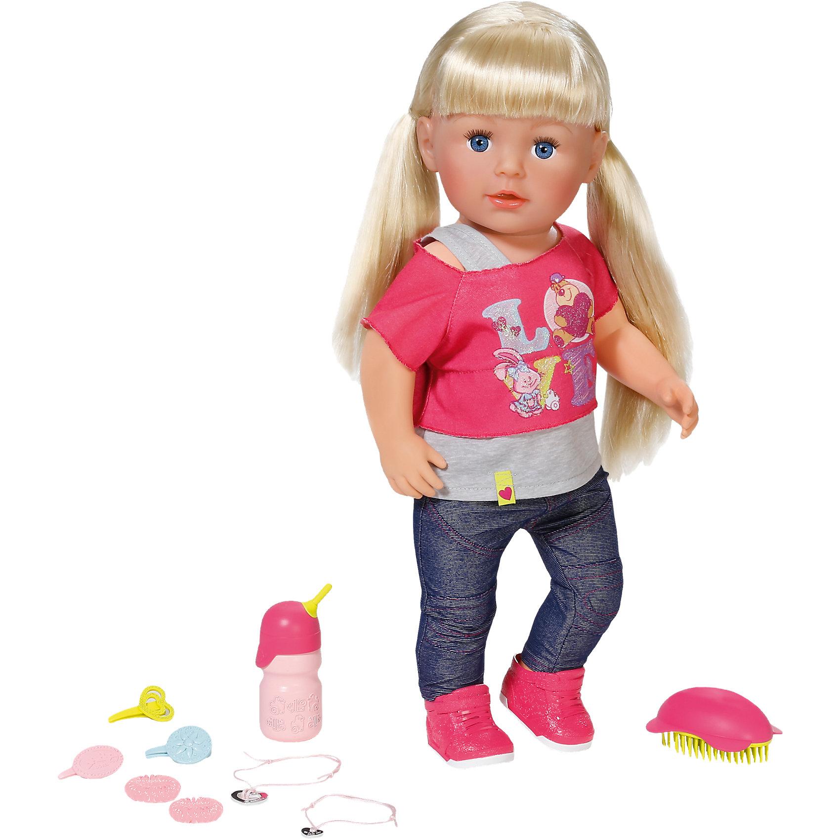 Кукла Сестричка, 43 см, BABY bornКуклы<br>Характеристики товара:<br><br>- цвет: разноцветный;<br>- материал: пластик, текстиль;<br>- особенности: сгибаются в коленях ноги, устойчива в вертикальном положении, умеет пить из бутылочки, плакать настоящими слезами, можно купать;<br>- размер упаковки: 38х9х10 см;<br>- размер куклы: 43 см.<br><br>Такие красивые куклы не оставят ребенка равнодушным! Какая девочка откажется поиграть с куклой, которая так выглядит?! Игрушка отлично детализирована, очень качественно выполнена, поэтому она станет отличным подарком ребенку. Она столько всего умеет! Кукла дополнена аксессуарами.<br>Изделие произведено из высококачественного материала, безопасного для детей.<br><br>Куклу Сестричка, 43 см, BABY born можно купить в нашем интернет-магазине.<br><br>Ширина мм: 385<br>Глубина мм: 360<br>Высота мм: 203<br>Вес г: 1421<br>Возраст от месяцев: 36<br>Возраст до месяцев: 60<br>Пол: Женский<br>Возраст: Детский<br>SKU: 4674538