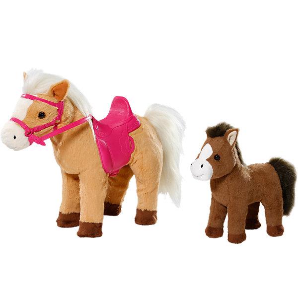 Лошадка с жеребенком, BABY born®Интерактивные мягкие игрушки<br>Характеристики:<br><br>• тип игрушки: лошадка;<br>• возраст: от 3 лет;<br>• размер: 50х32х13 см;<br>• размер куклы: 43 см;<br>• тип батареек: 3 x AA / LR6 1.5 V (пальчиковые);<br>• наличие батареек: входят в комплект;<br>• материал:  плюш, нейлон, пластик, наполнитель, магнит;<br>• комплектация: мама-лошадка, жеребенок, седло, уздечка;<br>• бренд: Zapf Creation;<br>• страна производителя: Китай.<br><br>Лошадка с жеребенком, BABY born - интерактивные игрушки, с которыми ребенок сможет придумать множество различных сюжетов для игр. Мягкие плюшевые игрушки работают на батарейках, которые также идут в комплекте. Лошадки могут двигаться, чем привлекут особое внимание ребенка, а звуковые эффекты сделают игру еще более интересной.<br><br>Мама-лошадка выполнена в приятном бежевом цвете. У нее длинная грива, которую при желании можно расчесывать, и добрые карие глазки. Окрас жеребенка более темный, а грива немного короче. В комплекте с лошадками идут седло и уздечка ярко-розового цвета.<br><br>Лошадку с жеребенком, BABY born можно купить в нашем интернет-магазине.<br>Ширина мм: 437; Глубина мм: 396; Высота мм: 177; Вес г: 1523; Возраст от месяцев: 36; Возраст до месяцев: 60; Пол: Женский; Возраст: Детский; SKU: 4674540;