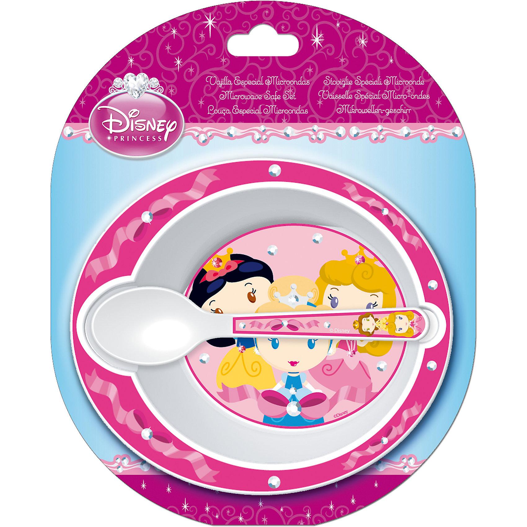Набор посуды для СВЧ (миска + ложка), ПринцессыПринцессы Дисней<br>Набор посуды для СВЧ (миска + ложка), Принцессы - посуда с изображением Диснеевских принцесс порадует вашу девочку.<br>Набор детской посуды Принцессы состоит из миски и ложки. Посуда оформлена изображением принцесс. Ваша малышка с удовольствием будет кушать вместе с любимыми героинями. Посуда изготовлена из термостойкого пищевого пластика, пригодного для использования в микроволновых СВЧ-печах.<br><br>Дополнительная информация:<br><br>- В наборе: миска, ложка<br>- Материал: пищевой пластик<br>- Размер упаковки: 17,5 х 5 х 20,5 см.<br>- Вес: 86 гр.<br><br>Набор посуды для СВЧ (миска + ложка), Принцессы можно купить в нашем интернет-магазине.<br><br>Ширина мм: 175<br>Глубина мм: 50<br>Высота мм: 205<br>Вес г: 86<br>Возраст от месяцев: 36<br>Возраст до месяцев: 144<br>Пол: Женский<br>Возраст: Детский<br>SKU: 4676427