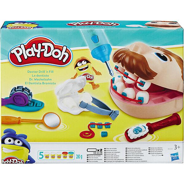 Игровой набор Мистер Зубастик, Play-DohНаборы для лепки<br>Характеристики товара:<br><br>• возраст: от 3 лет<br>• в комплекте: игрушечная голова пациента Мистера Зубастика, стоматологические инструменты, аксессуары, 5 баночек пластилина Play-Doh, инструкция.<br>• наличие батареек: не входят в комплект.<br>• тип батареек: 2 х AA / LR6 1.5V (пальчиковые) - в бормашинку.<br>• материал: пластмасса, пластилин.<br>• размер упаковки: 28х7х22 см.<br>• общая масса пластилина: 280 г.<br>• вес: 0.65 кг.<br>• упаковка: картонная коробка.<br>• страна обладатель бренда: США.<br><br>Игровой набор «Мистер Зубастик» от Play-Doh (Плей До) научит детей заботиться о зубах и не бояться зубных врачей.<br><br>С этим набором ребенок может самостоятельно решить, поставить пломбу или брекеты, а может и вовсе вырвать лишний зуб! Для этого в наборе есть три баночки пластелина Play-Doh и инструменты стоматолога: бормашина, которая работает как настоящая, пинцет, щётка и многое другое. С их помощью обязательно получится вылечить все зубки мистера Зубастика!<br><br>Примечание для родителей: пластилин Play-Doh содержит пшеницу и изготовлен из натуральных пищевых продуктов, поэтому абсолютно безопасен для здоровья.<br><br>Игровой набор Мистер Зубастик, Play-Doh можно купить в нашем интернет - магазине.<br>Ширина мм: 286; Глубина мм: 215; Высота мм: 68; Вес г: 796; Возраст от месяцев: 36; Возраст до месяцев: 2147483647; Пол: Унисекс; Возраст: Детский; SKU: 4678449;