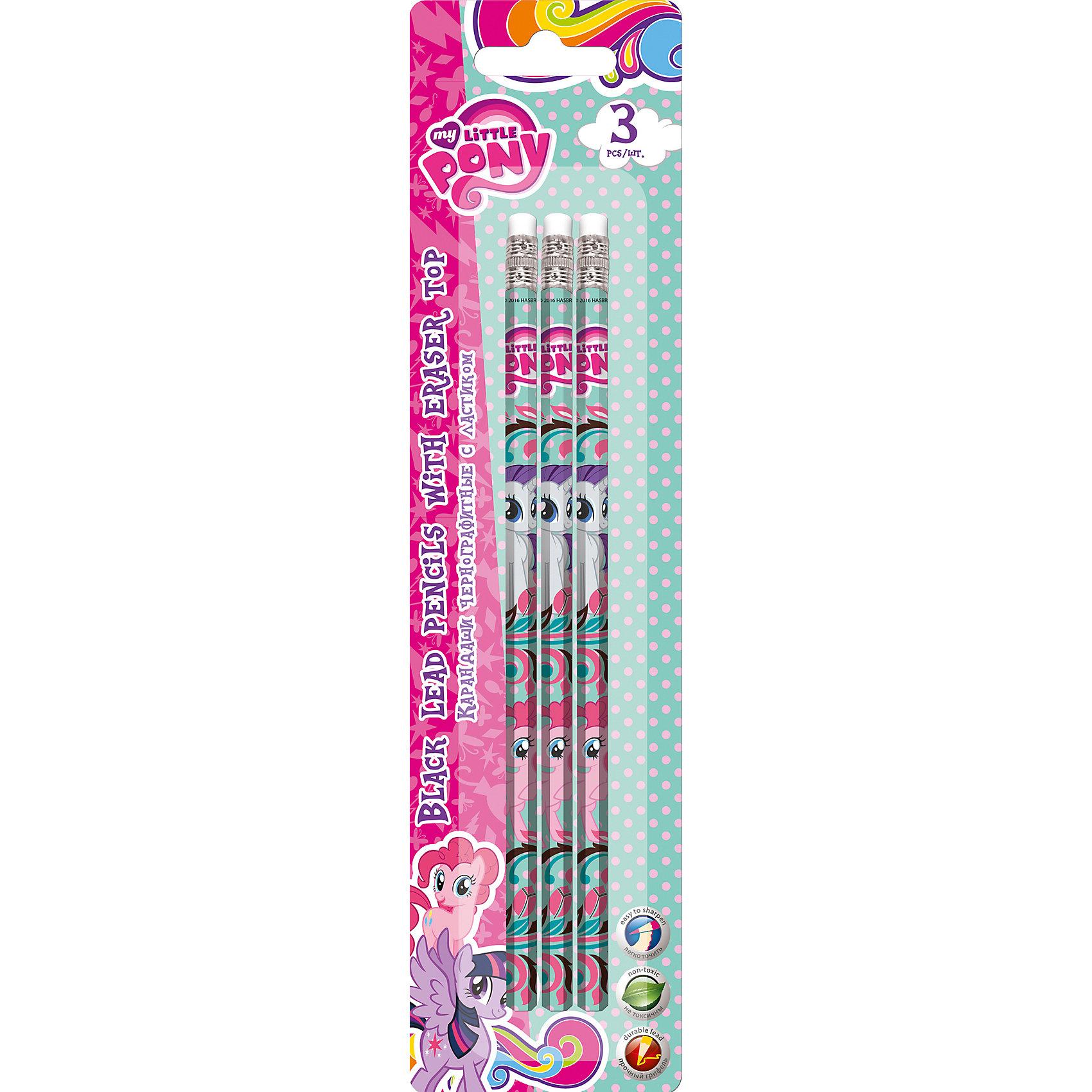 Простые карандаши, 3 шт., My Little Pony