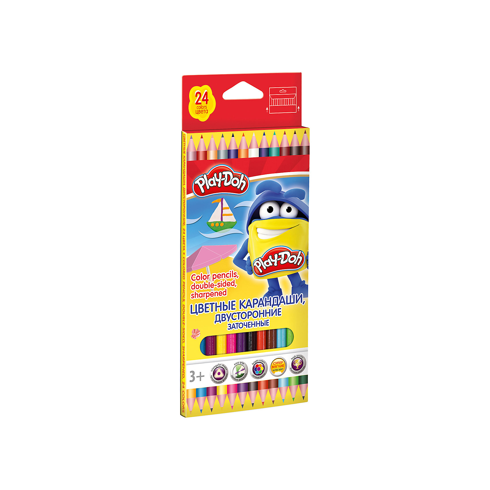 Двусторонние цветные карандаши, 12 шт, 24 цвета, Play-DohЦветные карандаши - необходимый инструмент для детского творчества и школьных занятий. Набор цветных двусторонних карандашей Play-Doh упакован в красочную картонную коробку с забавным рисунком. Карандаши идеально подходят для рисования, письма и раскрашивания,<br>не требуют сильного нажатия, поэтом ребенку будет легко ими рисовать. Трехгранная форма корпуса прививает навык правильно держать пишущий инструмент. Карандаши изготовлены из высококачественной древесины, легко затачиваются, имеют прочный грифель, который не<br>ломается при заточке.<br><br><br>Дополнительная информация:<br><br>- В комплекте: 12 двусторонних карандашей.<br>- Материал: дерево, грифель.<br>- Толщина грифеля: 3 мм.<br>- Размер карандаша: 17,8 см.<br>- Размер упаковки: 21,2 х 1 х 8,7 см.<br>- Вес: 45 гр.<br><br>Цветные карандаши, 12 шт., 24 цв., Play-Doh, можно купить в нашем интернет-магазине.<br><br>Ширина мм: 212<br>Глубина мм: 87<br>Высота мм: 10<br>Вес г: 76<br>Возраст от месяцев: 36<br>Возраст до месяцев: 72<br>Пол: Унисекс<br>Возраст: Детский<br>SKU: 4681059
