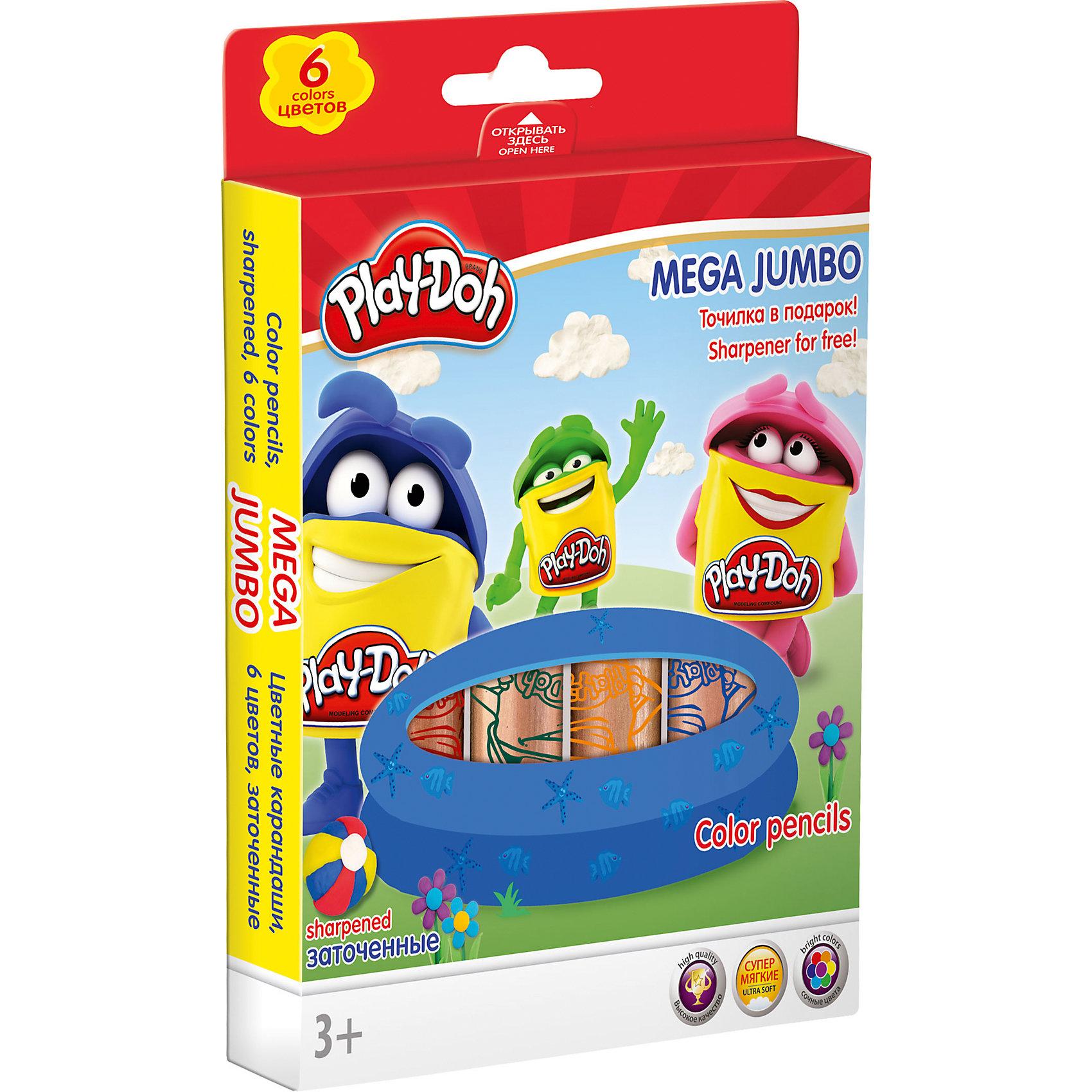 Академия групп Цветные карандаши MEGA JUMBO 6 шт, Play-Doh hasbro play doh игровой набор из 3 цветов цвета в ассортименте с 2 лет
