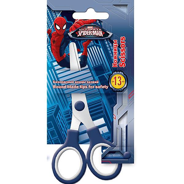 Ножницы в чехле, 13 см, Человек-паукЧеловек-Паук<br>Яркие канцелярские принадлежности с привлекательным дизайном и изображениями любимых героев сделают школьные занятия веселее и поднимут настроение маленькому школьнику. Детские ножницы, Человек-паук, оснащены пластиковыми ручками синего цвета и безопасными<br>закругленными концами лезвий, имеется защитный пластиковый чехол для безопасного использования и хранения. Блистерная упаковка с подвесом украшена изображением популярного супергероя Spider-Man.<br><br><br>Дополнительная информация:<br><br>- Материал: нержавеющая сталь, пластик. <br>- Длина ножниц: 13 см.<br>- Размер упаковки: 16 x 1 х 8 см.<br>- Вес: 42 гр.<br><br>Ножницы в чехле, 13 см., Человек-паук, можно купить в нашем интернет-магазине.<br>Ширина мм: 160; Глубина мм: 80; Высота мм: 10; Вес г: 35; Возраст от месяцев: 60; Возраст до месяцев: 84; Пол: Мужской; Возраст: Детский; SKU: 4681081;