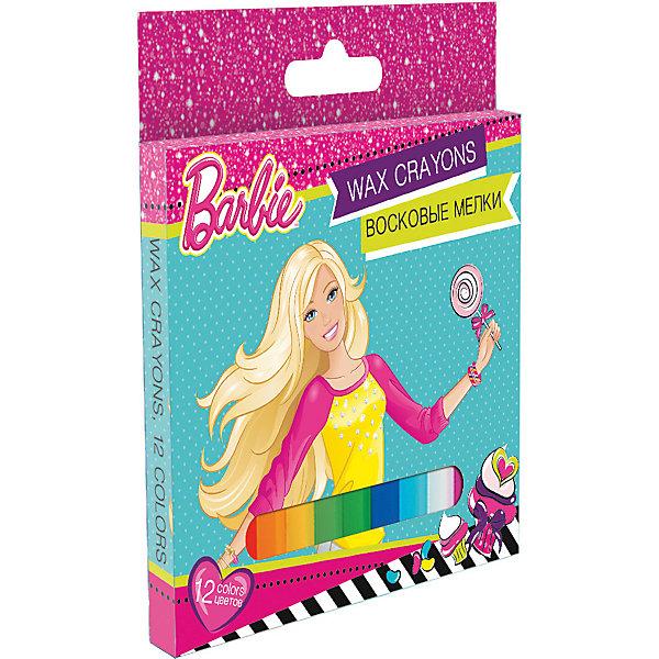 Восковые мелки, 12 цветов, BarbieМасляные и восковые мелки<br>Восковые мелки, Barbie, замечательно подойдут для рисования на бумаге и картоне. Мелки выполнены в форме карандашей и очень удобны в использовании. Благодаря своей мягкости, они прекрасно рисуют и обладают насыщенными цветами, что помогает создавать яркие картинки. Все мелки покрыты специальной оберткой, чтобы ребенок не испачкался во время рисования. В комплекте 12 разноцветных восковых мелков, упакованных в картонную розовую коробочку с изображением красавицы Барби. <br><br><br>Дополнительная информация:<br><br>- В комплекте: 12 штук.<br>- Размер одного мелка: 10 х ? 1,1 см.<br>- Размер упаковки: 12,5 х 1 x 13 см.<br>- Вес: 0,24 кг.<br><br>Восковые мелки, 12 цветов, Barbie, можно купить в нашем интернет-магазине.<br><br>Ширина мм: 10<br>Глубина мм: 130<br>Высота мм: 120<br>Вес г: 14<br>Возраст от месяцев: 96<br>Возраст до месяцев: 108<br>Пол: Женский<br>Возраст: Детский<br>SKU: 4681127