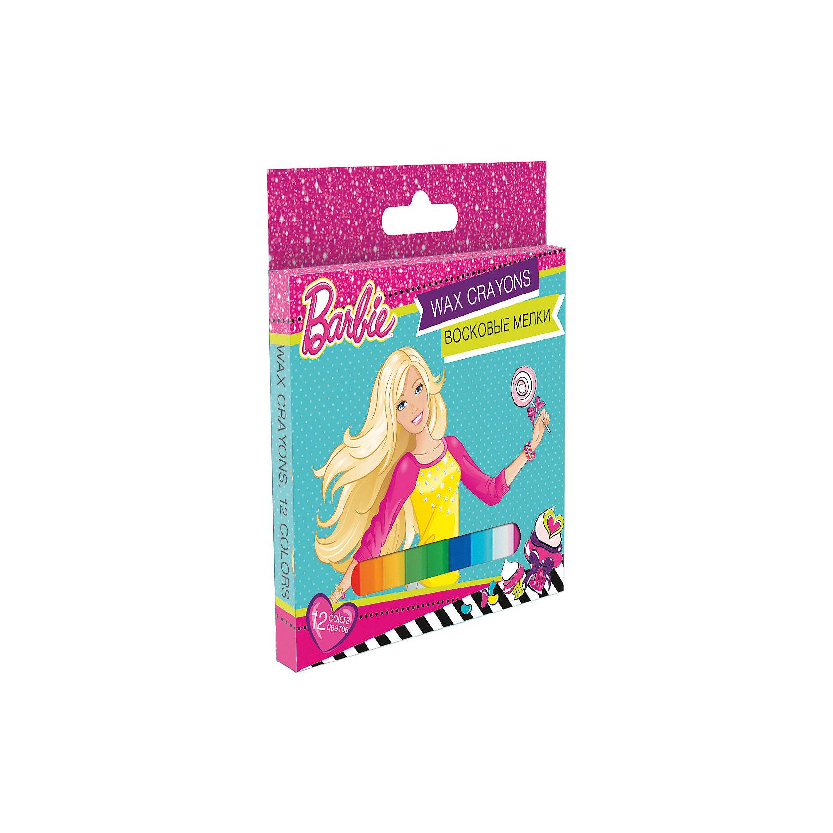 Восковые мелки, 12 цветов, BarbieВосковые мелки, Barbie, замечательно подойдут для рисования на бумаге и картоне. Мелки выполнены в форме карандашей и очень удобны в использовании. Благодаря своей мягкости, они прекрасно рисуют и обладают насыщенными цветами, что помогает создавать яркие картинки. Все мелки покрыты специальной оберткой, чтобы ребенок не испачкался во время рисования. В комплекте 12 разноцветных восковых мелков, упакованных в картонную розовую коробочку с изображением красавицы Барби. <br><br><br>Дополнительная информация:<br><br>- В комплекте: 12 штук.<br>- Размер одного мелка: 10 х ? 1,1 см.<br>- Размер упаковки: 12,5 х 1 x 13 см.<br>- Вес: 0,24 кг.<br><br>Восковые мелки, 12 цветов, Barbie, можно купить в нашем интернет-магазине.<br><br>Ширина мм: 10<br>Глубина мм: 130<br>Высота мм: 120<br>Вес г: 14<br>Возраст от месяцев: 96<br>Возраст до месяцев: 108<br>Пол: Женский<br>Возраст: Детский<br>SKU: 4681127