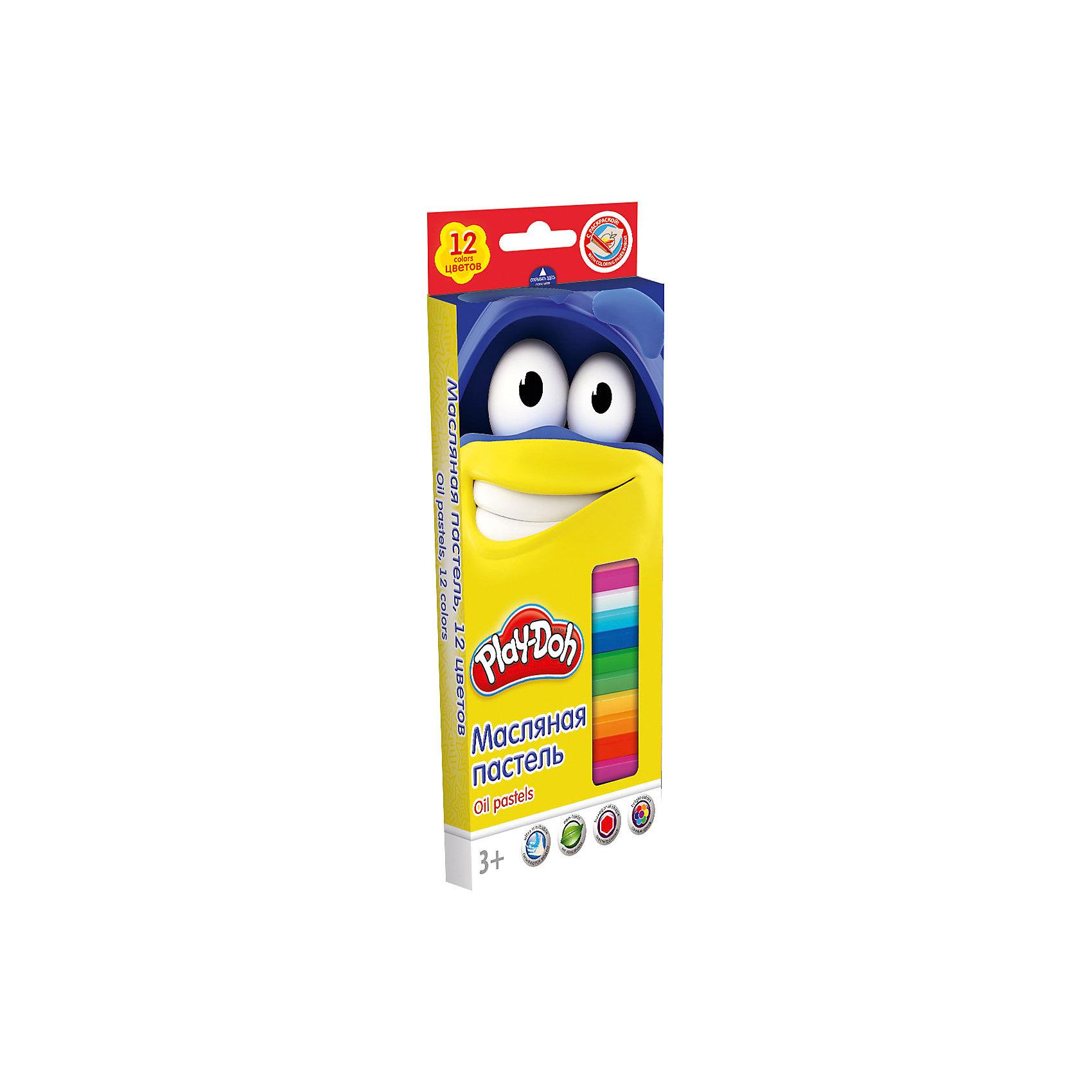 Масляная пастель (12 цветов) + 2 раскраски, Play-DohPlay-Doh<br>Масляная пастель, Play-Doh, замечательно подойдет для детского творчества и школьных занятий. В комплекте 12 разноцветных пастельных мелков, упакованных в нарядную коробочку с забавным рисунком. Благодаря своей мягкости, они прекрасно рисуют и обладают<br>насыщенными цветами, легко смешиваются между собой. Пастель легко ложится на бумагу с большей цветовой плотностью и создает мягкие штрихи. Она не выгорает на солнце, не темнеет и не трескается. Все мелки покрыты специальной бумажной оберткой, чтобы ребенок не<br>испачкался во время рисования. Пастель хорошо смываются обычной водой, не оставляя следов на руках и одежде. В комплект также входят две раскраски.<br><br><br>Дополнительная информация:<br><br>- В комплекте: 12 цветов, 2 раскраски.<br>- Размер 1 мелка: длина - 7,2 см., диаметр - 1,1 см. <br>- Размер упаковки: 19,8 х 1,8 х 8,8 см.<br>- Вес: 131 гр.<br><br>Масляную пастель,12 цветов, 2 раскраски, Play-Doh, можно купить в нашем интернет-магазине.<br><br>Ширина мм: 18<br>Глубина мм: 88<br>Высота мм: 198<br>Вес г: 131<br>Возраст от месяцев: 36<br>Возраст до месяцев: 72<br>Пол: Унисекс<br>Возраст: Детский<br>SKU: 4681128