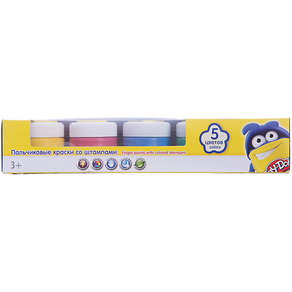 Пальчиковые краски со штампами (5 цветов), Play-DohПальчиковые краски<br>Пальчиковые краски, Play-Doh - увлекательный набор для детского творчества, который надолго увлечет Вашего ребенка. Набор пальчиковых красок оформлен в яркую картонную упаковку с забавным рисунком и замечательно подходит для самых маленьких детей, которым еще<br>трудно держать в руках кисточку. В комплекте 5 баночек разных цветов, специально предназначенных для рисования пальцами. Обмакнув пальчики в краски, малыш сможет нарисовать свои первые картинки, а фигурные штампики на крышках баночек сделают процесс рисования<br>еще веселее и интереснее. Краски отлично смываются, не оставляя следов. Не вызывают аллергических реакций и абсолютно безвредны для кожи. Набор развивает у ребенка фантазию, творческие способности и мелкую моторику рук.<br><br><br>Дополнительная информация:<br><br>- В комплекте: 5 цветов.<br>- Материал: краски, пластик.<br>- Объем краски одного цвета: 50 мл.<br>- Размер упаковки: 25,3 х 5.5 х 5,3 см. <br>- Вес: 0,433 кг.<br><br>Пальчиковые краски со штампами, 5 цв., Play-Doh, можно купить в нашем интернет-магазине.<br><br>Ширина мм: 53<br>Глубина мм: 253<br>Высота мм: 55<br>Вес г: 433<br>Возраст от месяцев: 36<br>Возраст до месяцев: 72<br>Пол: Унисекс<br>Возраст: Детский<br>SKU: 4681130