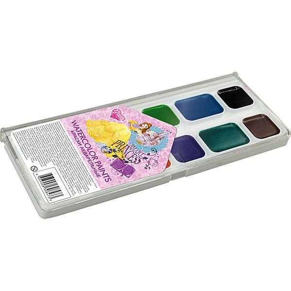 Акварельные краски, 12 цв, Принцессы ДиснейПринцессы Дисней<br>Акварельные краски, Принцессы Дисней, хорошо подойдут как для школьных занятий так и для детского творчества в свободное время. В наборе 12 акварельных медовых красок, упакованных в пластиковую коробочку-палитру с изображением волшебных принцесс из популярных<br>диснеевских мультфильмов. Краски легко размываются, создавая прозрачный цветной слой, легко смешиваются между собой, не крошатся и не смазываются, быстро сохнут. <br><br><br>Дополнительная информация:<br><br>- В комплекте: 12 цветов.<br>- Размер упаковки: 15 х 1,2 х 8 см.<br>- Вес: 61 гр.<br><br>Акварельные краски, 12 цв., Принцессы Дисней, можно купить в нашем интернет-магазине.<br>Ширина мм: 80; Глубина мм: 150; Высота мм: 12; Вес г: 61; Возраст от месяцев: 60; Возраст до месяцев: 84; Пол: Женский; Возраст: Детский; SKU: 4681131;
