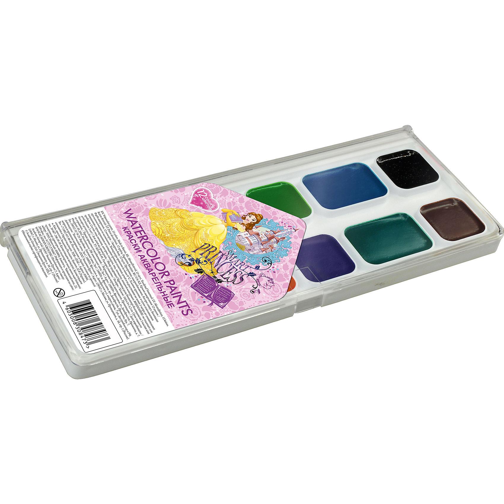 Акварельные краски, 12 цв, Принцессы ДиснейПринцессы Дисней<br>Акварельные краски, Принцессы Дисней, хорошо подойдут как для школьных занятий так и для детского творчества в свободное время. В наборе 12 акварельных медовых красок, упакованных в пластиковую коробочку-палитру с изображением волшебных принцесс из популярных<br>диснеевских мультфильмов. Краски легко размываются, создавая прозрачный цветной слой, легко смешиваются между собой, не крошатся и не смазываются, быстро сохнут. <br><br><br>Дополнительная информация:<br><br>- В комплекте: 12 цветов.<br>- Размер упаковки: 15 х 1,2 х 8 см.<br>- Вес: 61 гр.<br><br>Акварельные краски, 12 цв., Принцессы Дисней, можно купить в нашем интернет-магазине.<br><br>Ширина мм: 80<br>Глубина мм: 150<br>Высота мм: 12<br>Вес г: 61<br>Возраст от месяцев: 60<br>Возраст до месяцев: 84<br>Пол: Женский<br>Возраст: Детский<br>SKU: 4681131