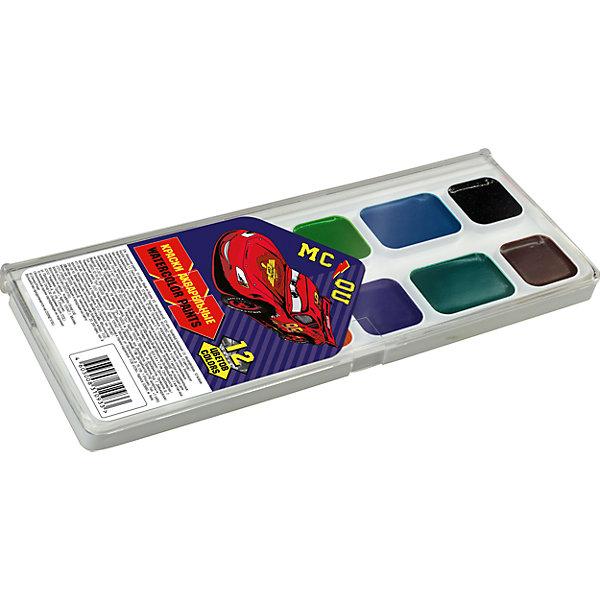 Акварельные краски, 12 цв, ТачкиТачки<br>Акварельные краски, Тачки, хорошо подойдут как для школьных занятий так и для детского творчества в свободное время. В наборе 12 акварельных медовых красок, упакованных в пластиковую коробочку-палитру с изображением персонажа из популярного мультфильма Тачки.<br>Краски легко размываются, создавая прозрачный цветной слой, легко смешиваются между собой, не крошатся и не смазываются, быстро сохнут. <br><br><br>Дополнительная информация:<br><br>- В комплекте: 12 цветов.<br>- Размер упаковки: 15 х 1,2 х 8 см.<br>- Вес: 61 гр.<br><br>Акварельные краски, 12 цв., Тачки, можно купить в нашем интернет-магазине.<br>Ширина мм: 80; Глубина мм: 150; Высота мм: 12; Вес г: 61; Возраст от месяцев: 60; Возраст до месяцев: 84; Пол: Мужской; Возраст: Детский; SKU: 4681133;