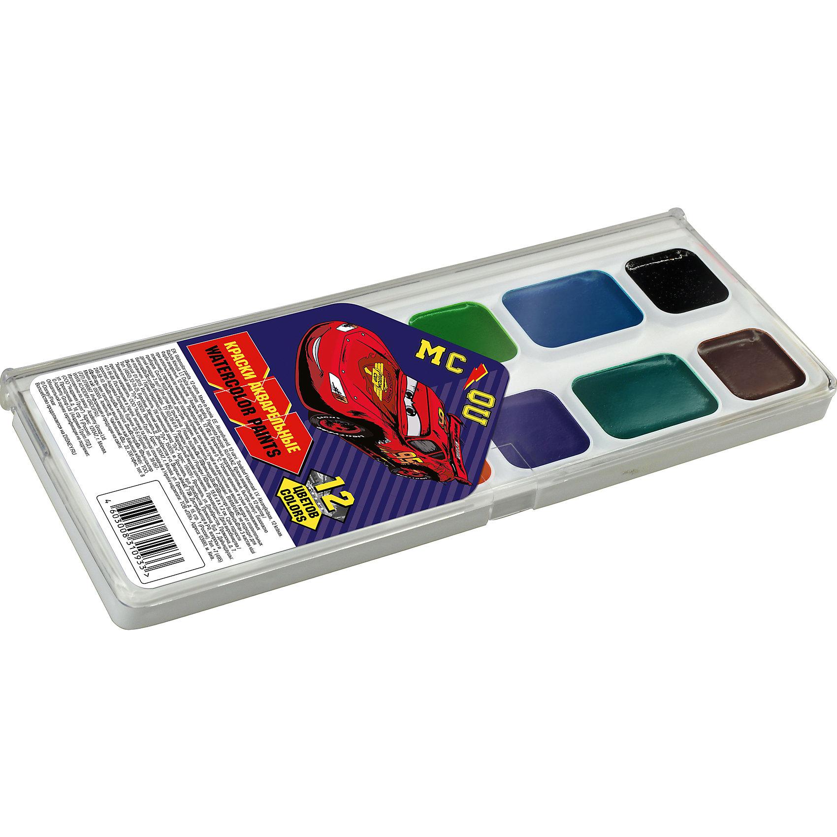 Акварельные краски, 12 цв, ТачкиТачки<br>Акварельные краски, Тачки, хорошо подойдут как для школьных занятий так и для детского творчества в свободное время. В наборе 12 акварельных медовых красок, упакованных в пластиковую коробочку-палитру с изображением персонажа из популярного мультфильма Тачки.<br>Краски легко размываются, создавая прозрачный цветной слой, легко смешиваются между собой, не крошатся и не смазываются, быстро сохнут. <br><br><br>Дополнительная информация:<br><br>- В комплекте: 12 цветов.<br>- Размер упаковки: 15 х 1,2 х 8 см.<br>- Вес: 61 гр.<br><br>Акварельные краски, 12 цв., Тачки, можно купить в нашем интернет-магазине.<br><br>Ширина мм: 80<br>Глубина мм: 150<br>Высота мм: 12<br>Вес г: 61<br>Возраст от месяцев: 60<br>Возраст до месяцев: 84<br>Пол: Мужской<br>Возраст: Детский<br>SKU: 4681133