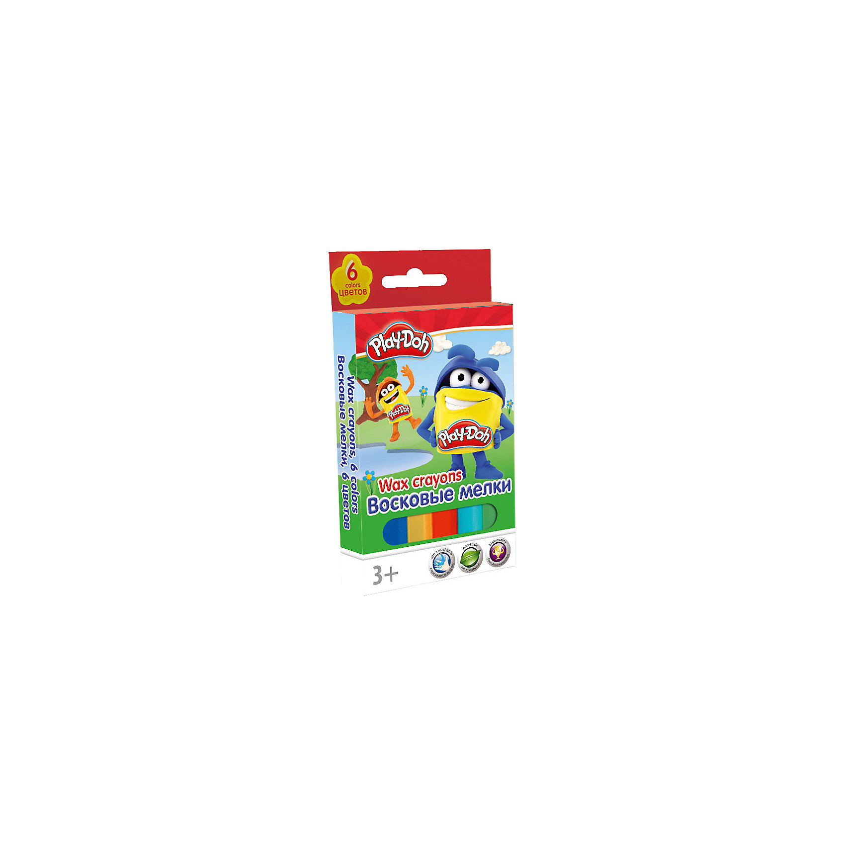 Восковые мелки, 6 шт, Play-DohВосковые мелки, Play-Doh, замечательно подойдут для рисования на бумаге и картоне. Мелки выполнены в форме карандашей и очень удобны в использовании. Благодаря своей мягкости, они прекрасно рисуют и обладают насыщенными цветами, что помогает создавать яркие<br>картинки. У каждого мелка пластиковый корпус с выдвижным механизмом, что позволяет сохранять руки чистыми. В комплекте 6 разноцветных восковых мелков, упакованных в картонную яркую коробочку с забавным рисунком. <br><br><br>Дополнительная информация:<br><br>- В комплекте: 6 штук.<br>- Размер упаковки: 6 х 1 x 13 см.<br>- Вес: 67 гр.<br><br>Восковые мелки, 6 шт., Play-Doh, можно купить в нашем интернет-магазине.<br><br>Ширина мм: 60<br>Глубина мм: 10<br>Высота мм: 130<br>Вес г: 67<br>Возраст от месяцев: 36<br>Возраст до месяцев: 72<br>Пол: Унисекс<br>Возраст: Детский<br>SKU: 4681134