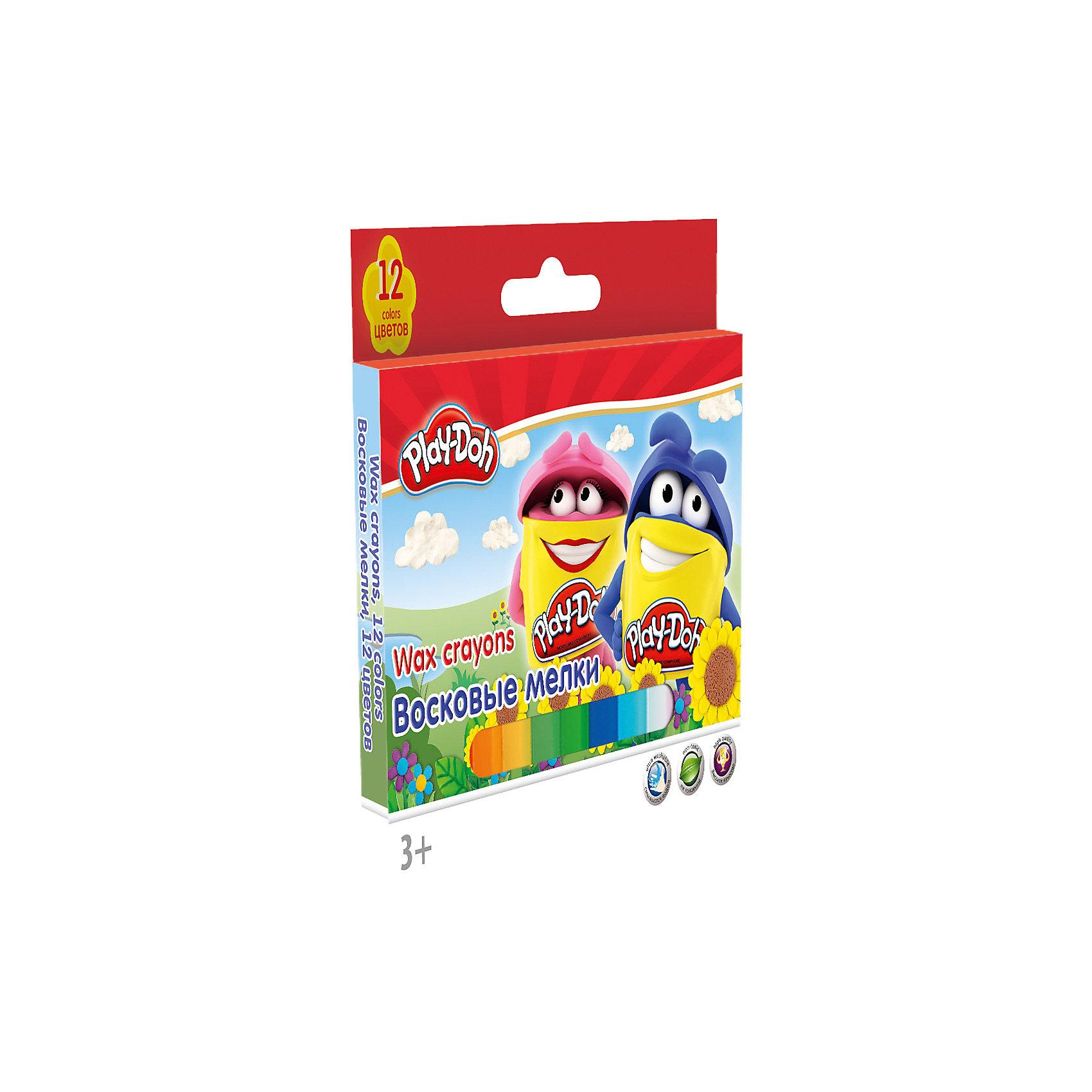 Восковые мелки, 12 шт, Play-DohPlay-Doh<br>Восковые мелки, Play-Doh, замечательно подойдут для рисования на бумаге и картоне. Мелки выполнены в форме карандашей и очень удобны в использовании. Благодаря своей мягкости, они прекрасно рисуют и обладают насыщенными цветами, что помогает создавать яркие<br>картинки. У каждого мелка пластиковый корпус с выдвижным механизмом, что позволяет сохранять руки чистыми. В комплекте 12 разноцветных восковых мелков, упакованных в картонную яркую коробочку с забавным рисунком. <br><br><br>Дополнительная информация:<br><br>- В комплекте: 12 штук.<br>- Размер упаковки: 12,5 х 1 x 13 см.<br>- Вес: 113 гр.<br><br>Восковые мелки, 12 шт., Play-Doh, можно купить в нашем интернет-магазине.<br><br>Ширина мм: 125<br>Глубина мм: 10<br>Высота мм: 130<br>Вес г: 113<br>Возраст от месяцев: 36<br>Возраст до месяцев: 72<br>Пол: Унисекс<br>Возраст: Детский<br>SKU: 4681135