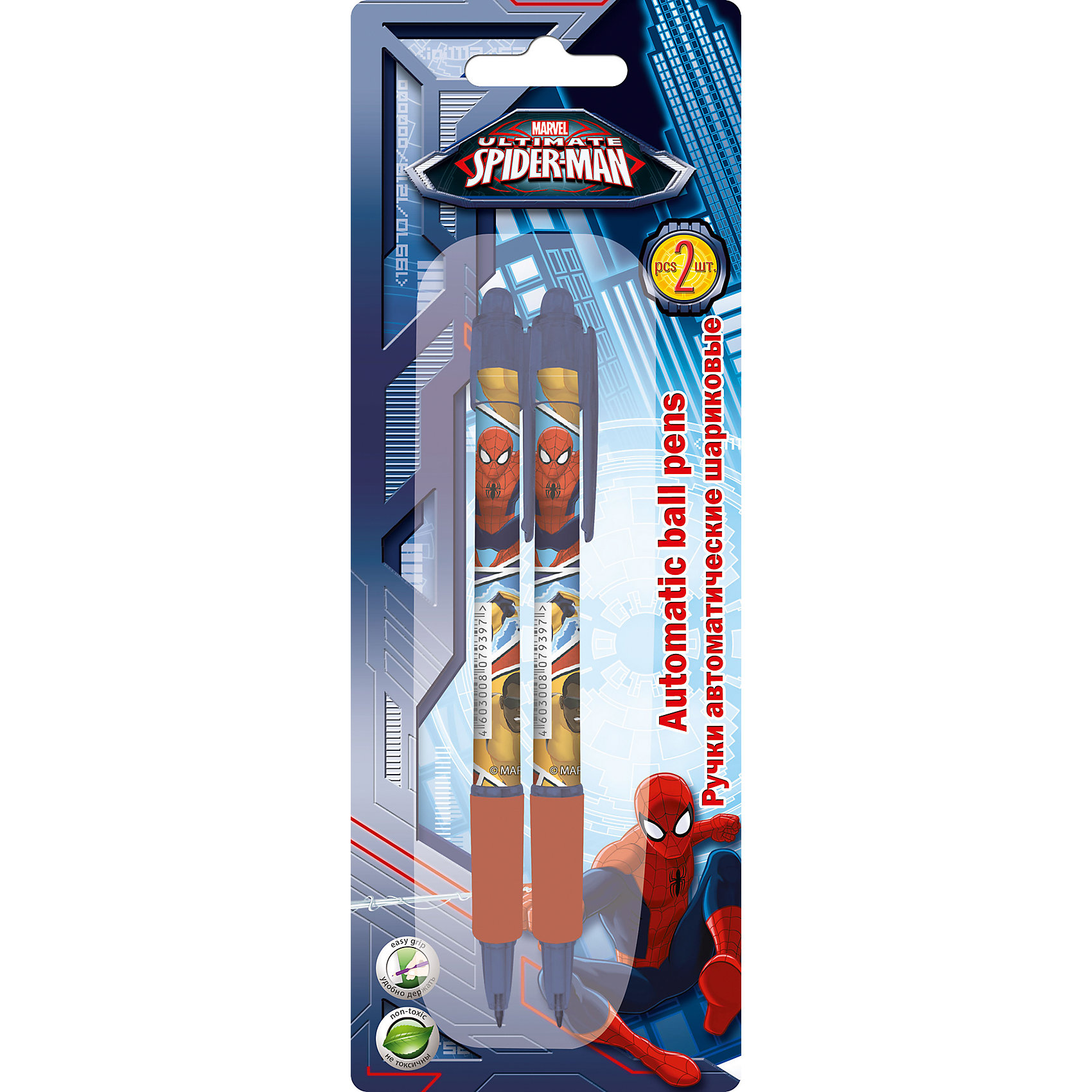 Автоматическая ручка, 2 шт, Человек-ПаукНабор автоматических ручек, Человек-Паук, замечательно подойдет для школьных и творческих занятий. В комплекте 2 шариковые ручки синего цвета, пластиковый корпус выполнен в яркой расцветке и украшен изображением популярного супергероя Spider-Man. Блистерная<br>упаковка с европодвесом.<br><br><br>Дополнительная информация:<br><br>- В комплекте: 2 шт.<br>- Цвет пасты: синий. <br>- Размер упаковки: 20 х 1,5 х 7 см.<br>- Вес: 25 гр.<br><br>Автоматическую ручку, 2 шт., Человек-Паук, можно купить в нашем интернет-магазине.<br><br>Ширина мм: 200<br>Глубина мм: 70<br>Высота мм: 15<br>Вес г: 25<br>Возраст от месяцев: 60<br>Возраст до месяцев: 84<br>Пол: Мужской<br>Возраст: Детский<br>SKU: 4681139