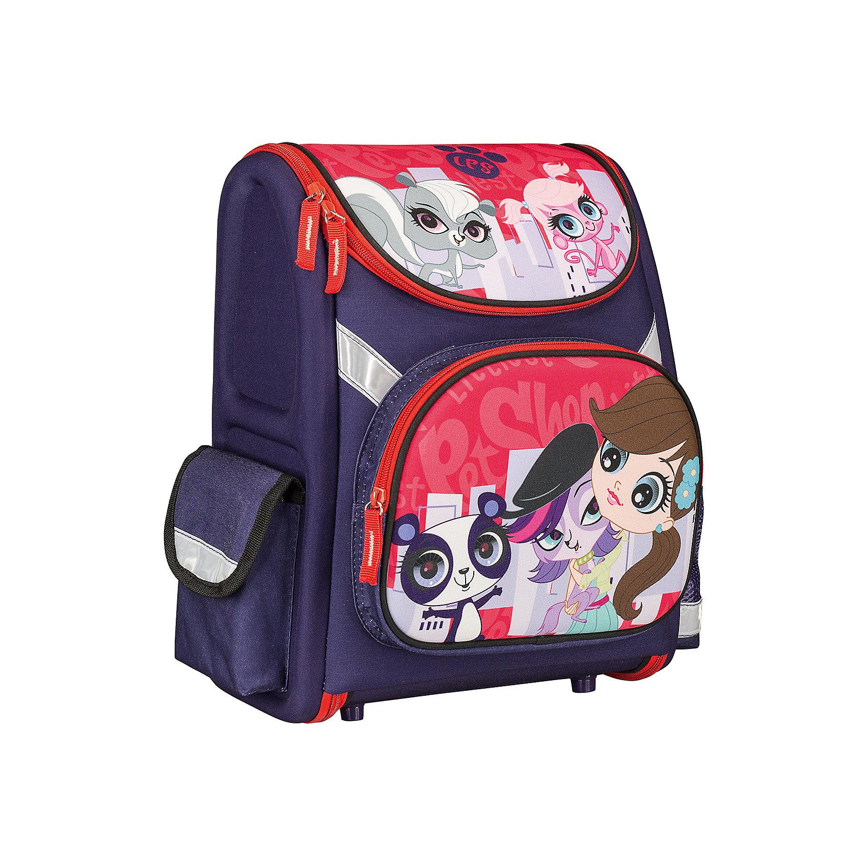 Школьный рюкзак, Littlest Pet ShopLittlest Pet Shop<br>Рюкзак Littlest Pet Shop - прекрасный вариант для школьных занятий. Рюкзак изготовлен из прочного полиэстера и имеет привлекательный для девочек дизайн в яркой расцветке с изображением забавных зверюшек из популярного мультсериала Маленький зоомагазин. Корпус<br>рюкзака, эргономичная спинка, дно и крышка изготовлены из современного материала EVA. Широкие анатомические лямки, регулируемые по длине, равномерно распределяют нагрузку на плечевой пояс. Также есть удобная прорезиненная ручка, за которую можно нести рюкзак. <br><br>Рюкзак закрывается на застежку-молнию, внутри одно просторное вместительное отделение с двумя разделителями и утягивающей резинкой. На лицевой стороне рюкзака расположен большой накладной карман, закрывающийся на молнию, также имеются карманы по бокам рюкзака.<br>Светоотражающие вставки повышают безопасность ребенка на дороге.<br><br><br>Дополнительная информация:<br><br>- Материал: полиэстер.  <br>- Размер: 35 х 31 х 14 см.<br>- Вес: 0,83 кг.<br><br>Рюкзак, Littlest Pet Shop, можно купить в нашем интернет-магазине.<br><br>Ширина мм: 310<br>Глубина мм: 140<br>Высота мм: 350<br>Вес г: 830<br>Возраст от месяцев: 72<br>Возраст до месяцев: 144<br>Пол: Женский<br>Возраст: Детский<br>SKU: 4681142