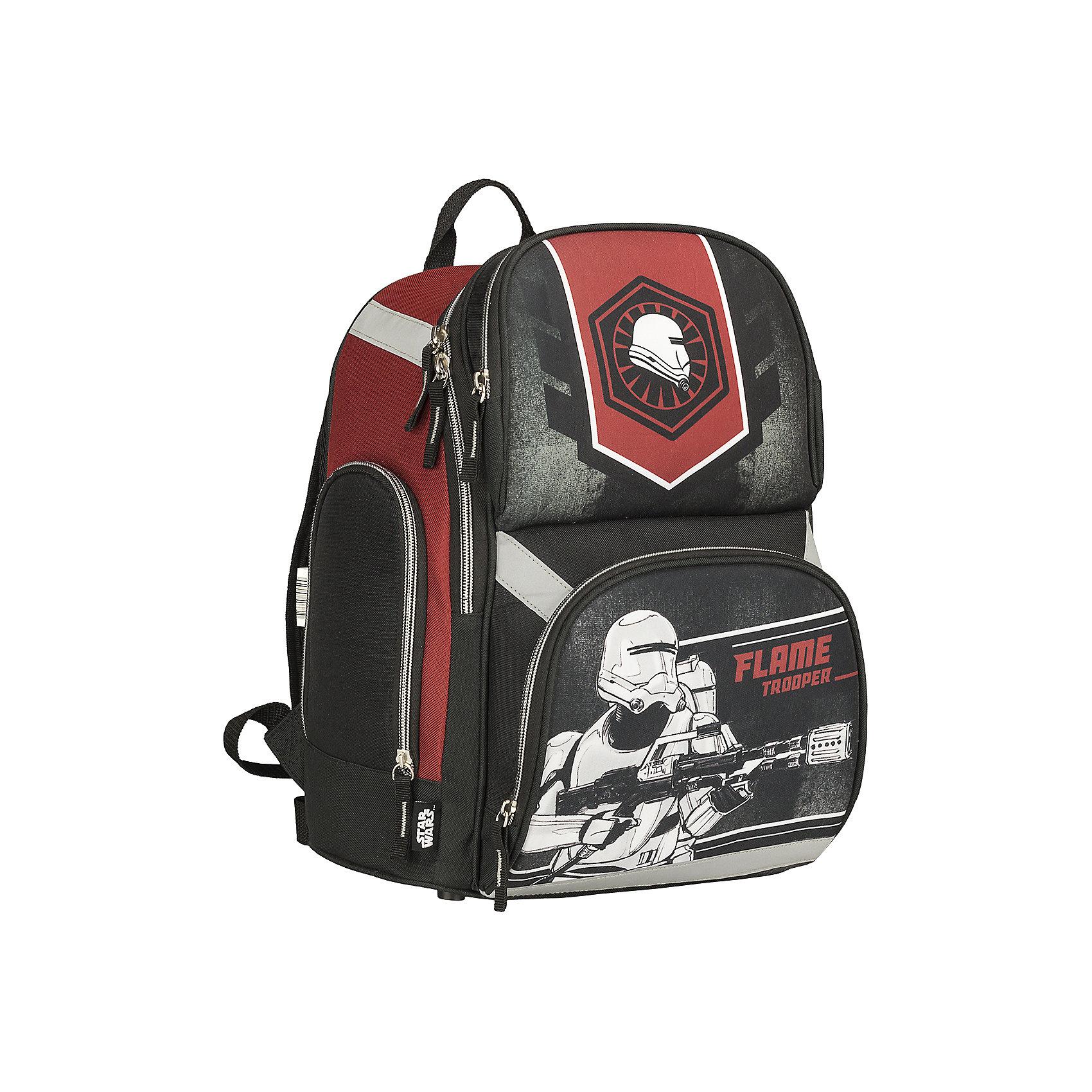 Школьный рюкзак, Star WarsЗвездные войны<br>Рюкзак, Star Wars - прекрасный вариант для школьных занятий. Рюкзак изготовлен из прочного полиэстера и имеет оригинальный дизайн в стиле популярной киноэпопеи Звездные войны. Корпус рюкзака изготовлен из современного материала EVA. Эргономичная спинка выполнена<br>в виде накладок анатомической формы из нескольких слоев вспененных синтетических материалов и обтянута воздухообменной сеткой. Широкие анатомические лямки, регулируемые по длине, равномерно распределяют нагрузку на плечевой пояс. Также есть удобная текстильная<br>ручка, за которую можно нести рюкзак. <br><br>Рюкзак закрывается на застежку-молнию, внутри одно просторное вместительное отделение с откидным внутренним дном. На лицевой стороне рюкзака расположены два больших накладных кармана, закрывающихся на молнию, также имеются карманы по бокам рюкзака (сетчатый и<br>на молнии). Светоотражающие вставки повышают безопасность ребенка на дороге.<br><br><br>Дополнительная информация:<br><br>- Материал: полиэстер.  <br>- Размер: 35 х 28 х 17,5 см.<br>- Вес: 0,65 кг.<br><br>Рюкзак, Star Wars, можно купить в нашем интернет-магазине.<br><br>Ширина мм: 280<br>Глубина мм: 175<br>Высота мм: 350<br>Вес г: 650<br>Возраст от месяцев: 96<br>Возраст до месяцев: 108<br>Пол: Мужской<br>Возраст: Детский<br>SKU: 4681148