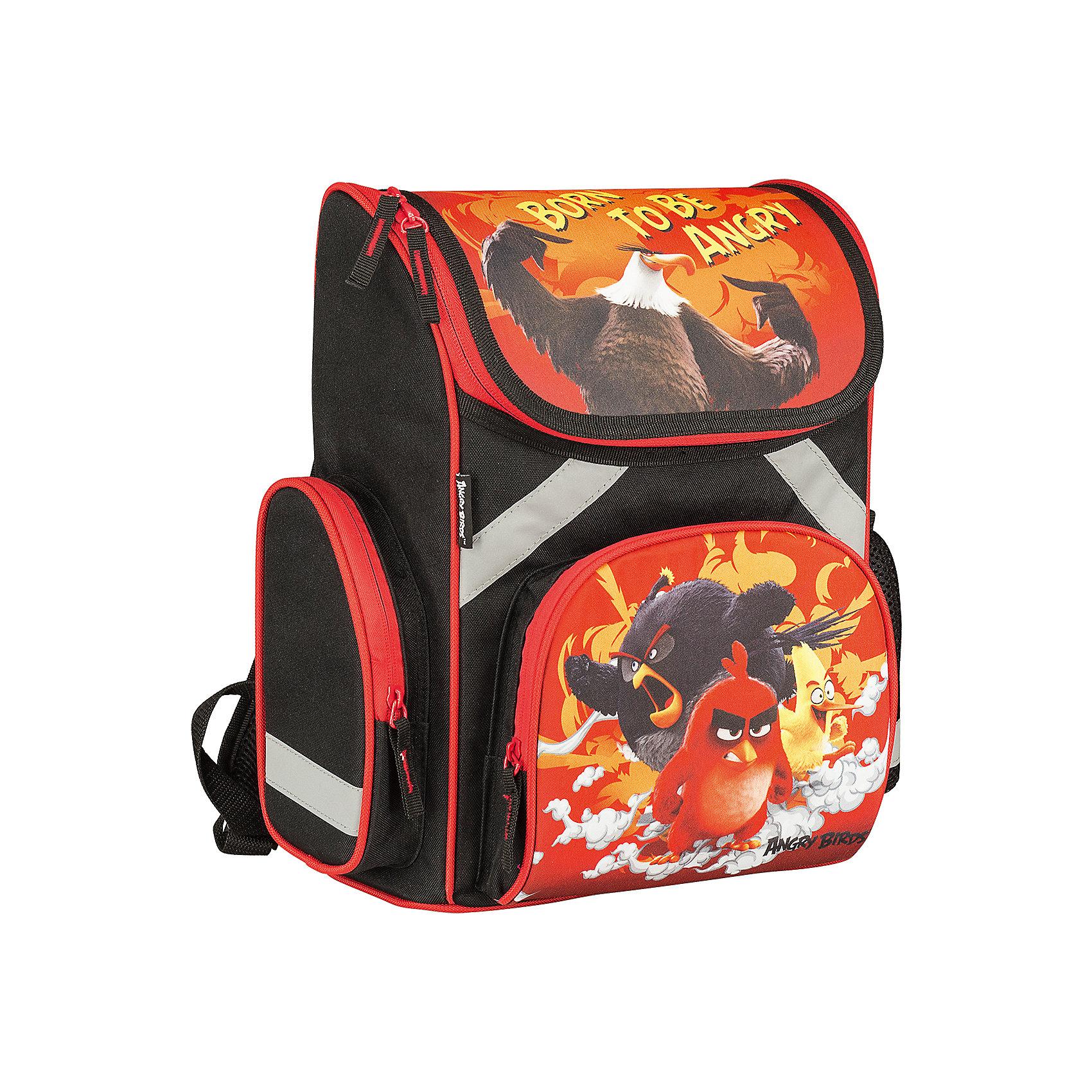 Школьный рюкзак Angry BirdsAngry Birds<br>Рюкзак Angry Birds - прекрасный вариант для школьных занятий. Рюкзак изготовлен из прочного полиэстера и имеет оригинальный дизайн по мотивам нового мультфильма про популярных птичек Angry Birds. Эргономичная спинка выполнена в виде накладок анатомической формы из<br>нескольких слоев вспененных синтетических материалов и обтянута воздухообменной сеткой. Спинка и боковые панели усилены пластиком, дно из прочного непромокаемого материала поможет сохранить вещи в порядке и чистоте. Широкие анатомические лямки, регулируемые по<br>длине, равномерно распределяют нагрузку на плечевой пояс. Также есть удобная прорезиненная ручка, за которую можно нести рюкзак. <br><br>Рюкзак закрывается на застежку-молнию, внутри одно просторное вместительное отделение с двумя разделителями. На лицевой стороне рюкзака расположен большой накладной карман, закрывающийся на молнию, также имеются карманы по бокам рюкзака (сетчатый и на молнии).<br>Светоотражающие вставки повышают безопасность ребенка на дороге.<br><br><br>Дополнительная информация:<br><br>- Материал: полиэстер.  <br>- Размер: 35 х 26,5 х 13 см.<br>- Вес: 0,99 кг.<br><br>Рюкзак, Angry Birds, можно купить в нашем интернет-магазине.<br><br>Ширина мм: 265<br>Глубина мм: 130<br>Высота мм: 350<br>Вес г: 990<br>Возраст от месяцев: 96<br>Возраст до месяцев: 108<br>Пол: Мужской<br>Возраст: Детский<br>SKU: 4681155