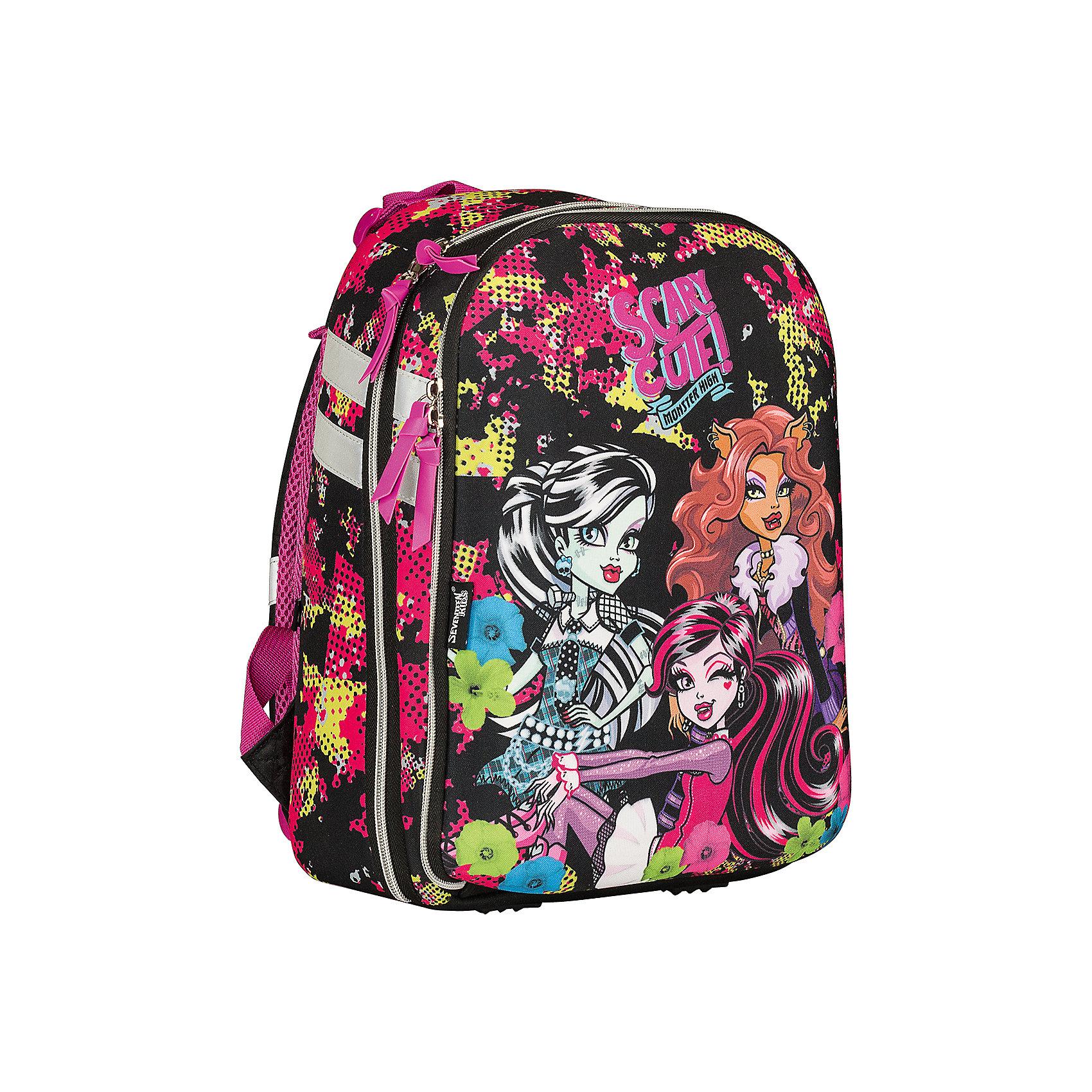 Школьный рюкзак, Monster HighMonster High<br>Рюкзак, Monster High - прекрасный вариант для школьных занятий. Рюкзак выполнен из прочного полиэстера и имеет привлекательный для девочек дизайн по мотивам популярного мультсериала Школа монстров. Корпус рюкзака изготовлен из современного материала EVA.<br>Эргономичная спинка выполнена в виде накладок анатомической формы из нескольких слоев вспененных синтетических материалов и обтянута воздухообменной сеткой. Широкие мягкие лямки, регулируемые по длине, равномерно распределяют нагрузку на плечевой пояс. Также есть<br>удобная текстильная ручка для переноски в руках. <br><br>Рюкзак имеет два отделения на молнии. Внутри основного отделения - секция для ноутбука или планшета и разделитель для книг и тетрадей, внутри второго отделения - открытый карман и карман для мобильного телефона, а также сетчатый карман. Светоотражающие элементы<br>повышают безопасность ребенка на дороге.<br><br><br>Дополнительная информация:<br><br>- Материал: полиэстер. <br>- Размер: 38 х 28 х 10 см.<br>- Вес: 0,78 кг.<br><br>Рюкзак, Monster High, можно купить в нашем интернет-магазине.<br><br>Ширина мм: 280<br>Глубина мм: 100<br>Высота мм: 380<br>Вес г: 780<br>Возраст от месяцев: 120<br>Возраст до месяцев: 144<br>Пол: Женский<br>Возраст: Детский<br>SKU: 4681157