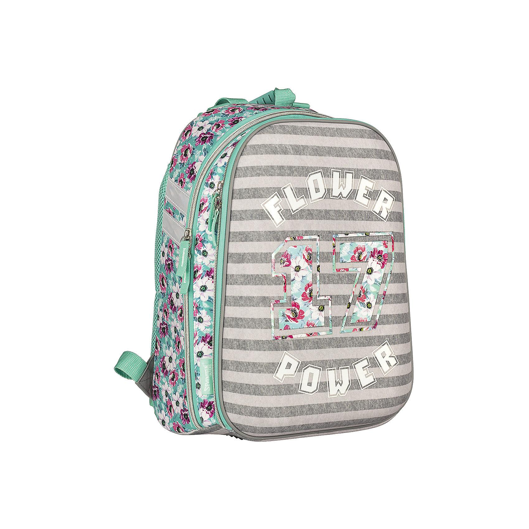 Школьный рюкзак, Seventeen KidsРюкзак, Seventeen Kids - прекрасный вариант для школьных занятий. Рюкзак выполнен из прочного полиэстера и имеет привлекательный для девочек дизайн с приятной полосатой расцветкой и цветочным принтом. Корпус рюкзака изготовлен из современного материала EVA.<br>Эргономичная спинка выполнена в виде накладок анатомической формы из нескольких слоев вспененных синтетических материалов и обтянута воздухообменной сеткой. Широкие мягкие лямки, регулируемые по длине, равномерно распределяют нагрузку на плечевой пояс. Жесткое<br>дно придает рюкзаку устойчивость и защищает от загрязнений. Также есть удобная прорезиненная ручка для переноски в руках. <br><br>Рюкзак имеет два отделения на молнии. Внутри основного отделения - секция для ноутбука или планшета и разделитель для книг и тетрадей, внутри второго отделения - открытый карман и карман для мобильного телефона, а также сетчатый карман. Светоотражающие элементы<br>повышают безопасность ребенка на дороге. Рекомендовано Научным центром здоровья детей РАМН.<br><br><br>Дополнительная информация:<br><br>- Материал: полиэстер. <br>- Размер: 38 х 28 х 6 см.<br>- Вес: 0,78 кг.<br><br>Рюкзак, Seventeen Kids, можно купить в нашем интернет-магазине.<br><br>Ширина мм: 280<br>Глубина мм: 60<br>Высота мм: 380<br>Вес г: 780<br>Возраст от месяцев: 120<br>Возраст до месяцев: 144<br>Пол: Женский<br>Возраст: Детский<br>SKU: 4681158